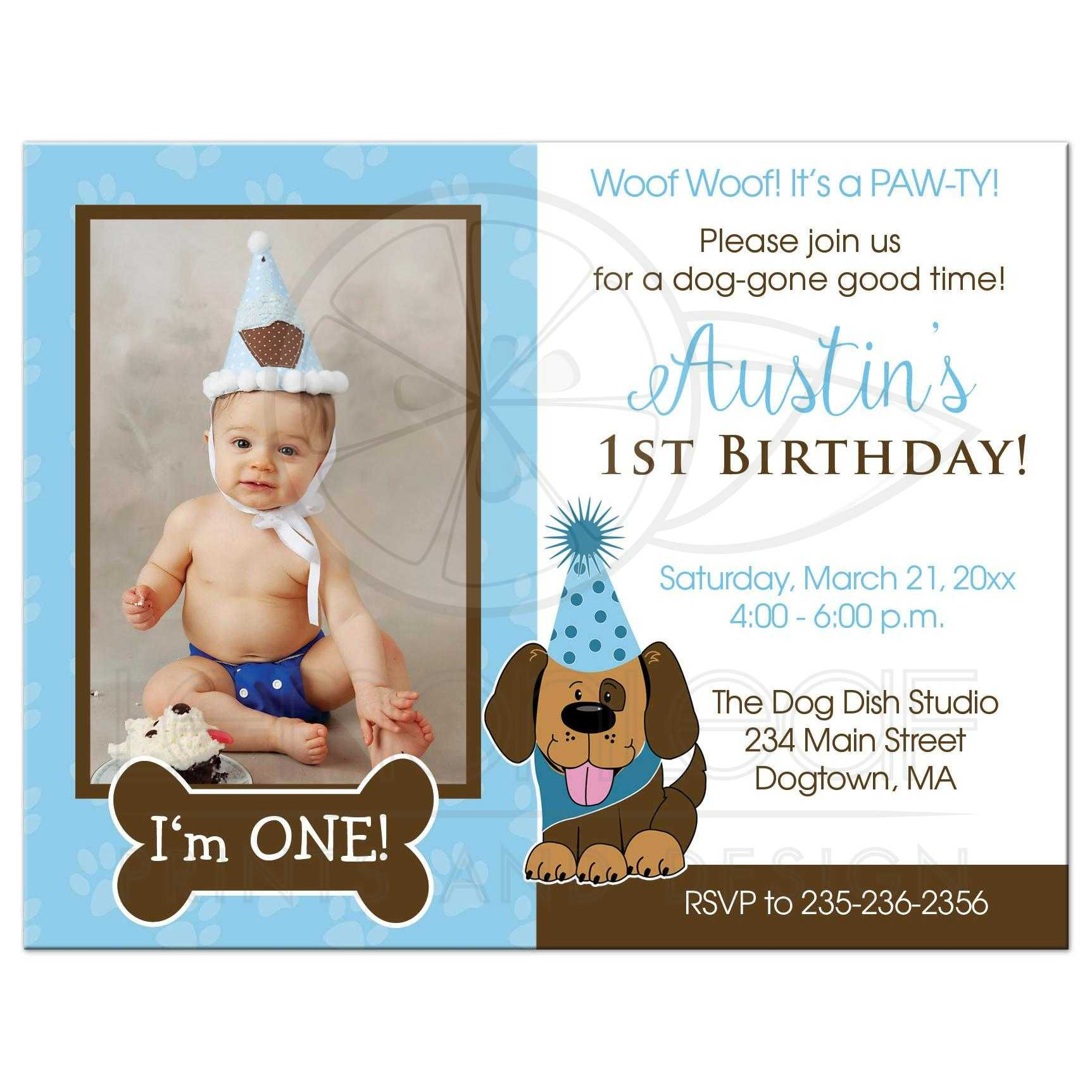 Puppy Dog Boy First Birthday Invitations