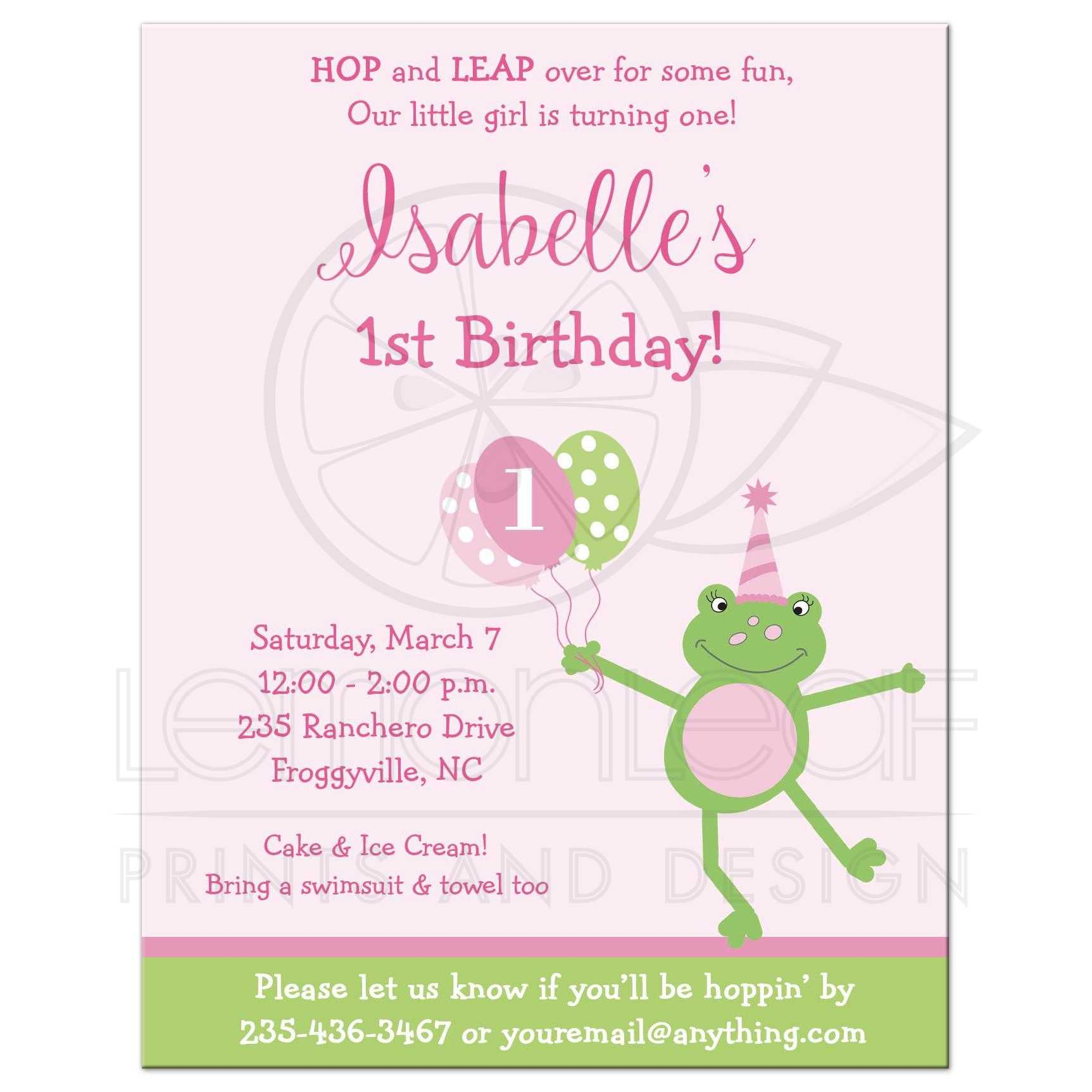 Frog In Party Hat 1st Birthday Invitation