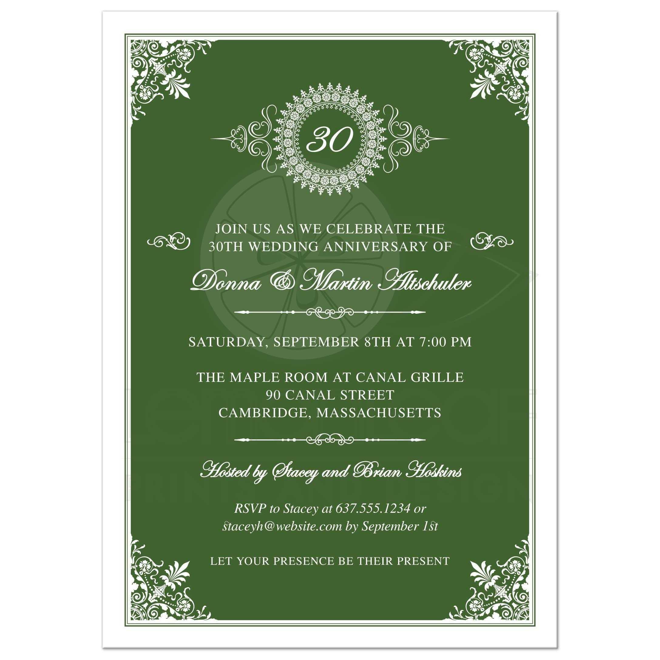 Anniversary Party Invitation - Green 30th Ornate Medallion