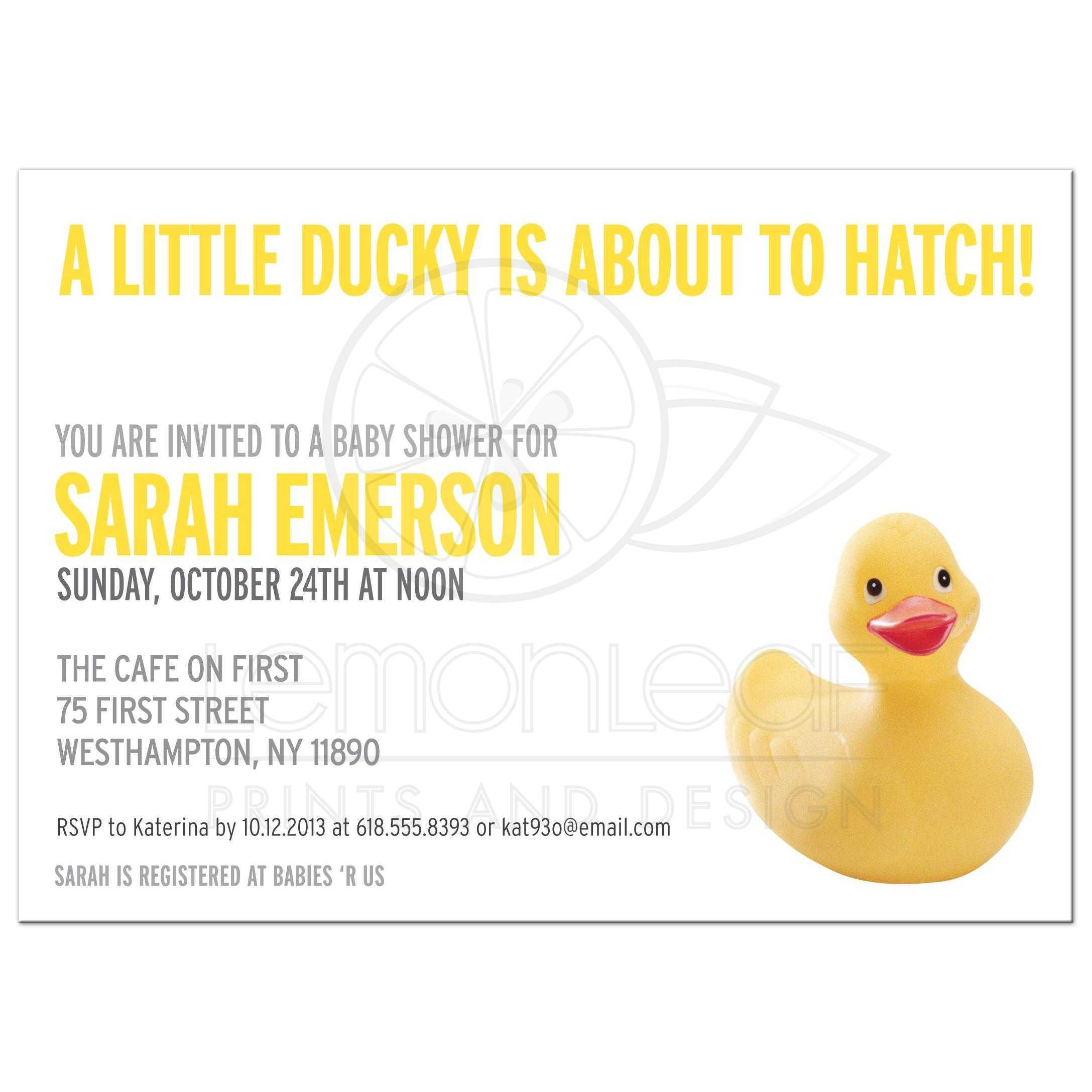 Baby Shower Invitation - Yellow Rubber Ducky