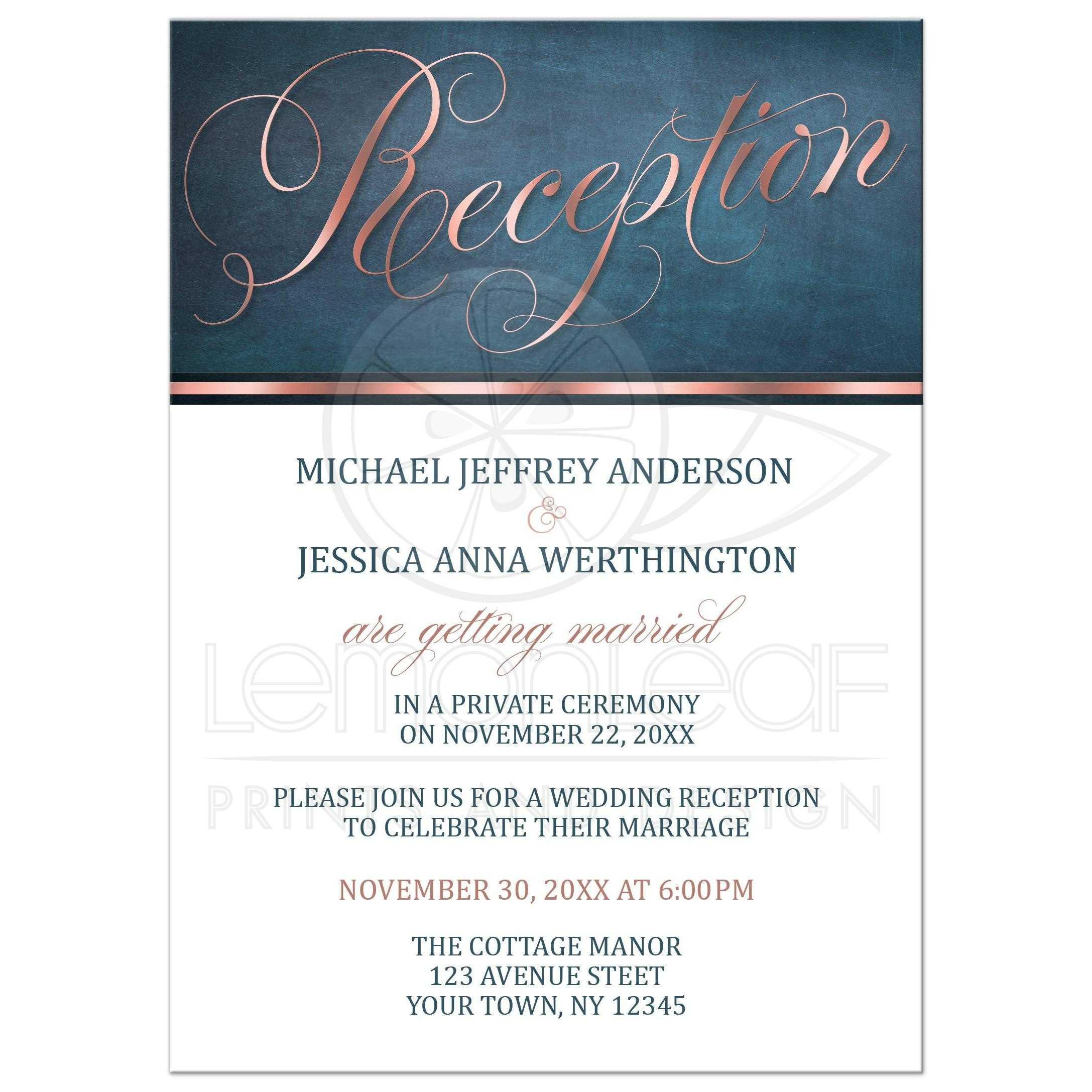 Reception Only Invitations - Copper Blue Elegant