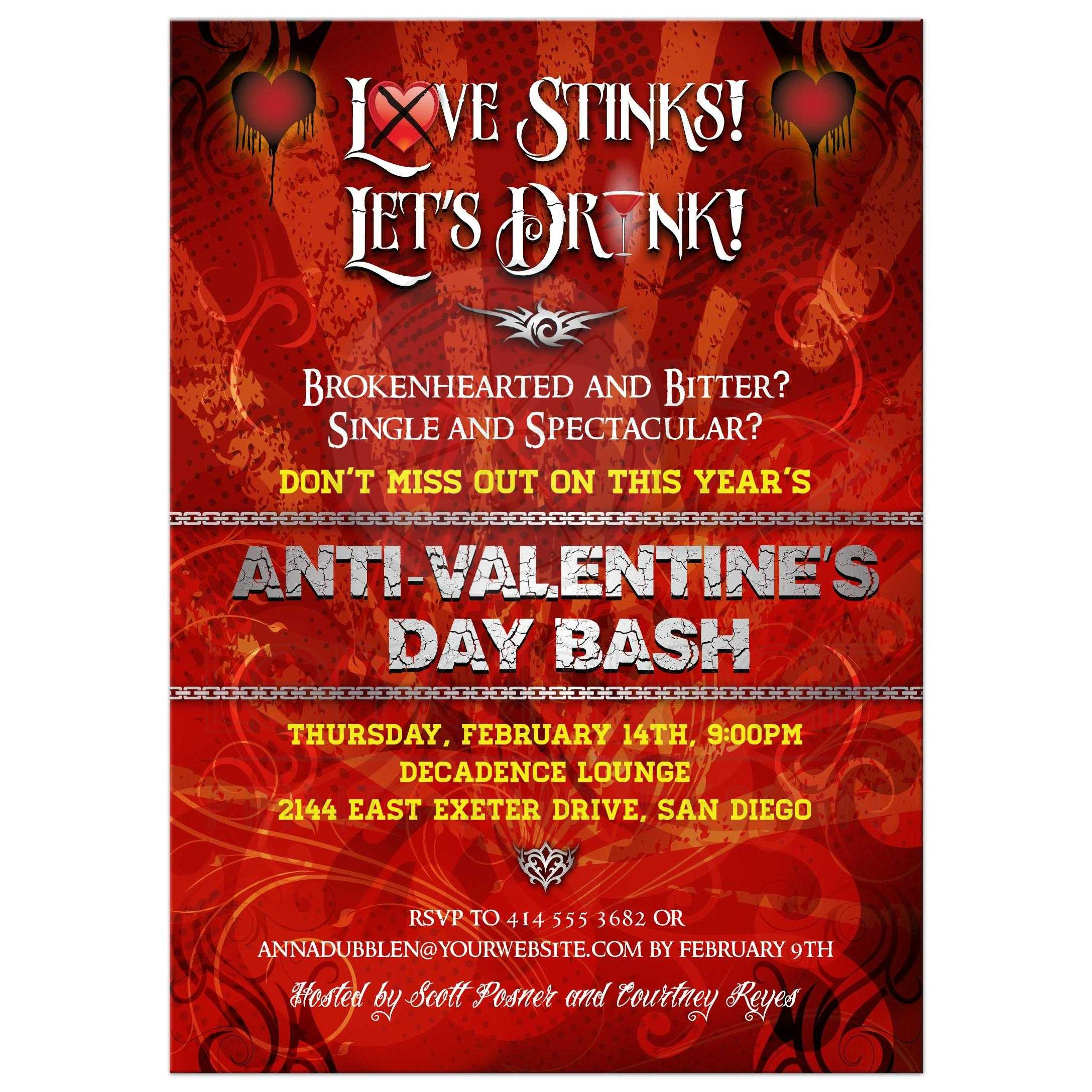 Anti Valentines Day Party Invitation - Love Stinks, Let\'s Drink