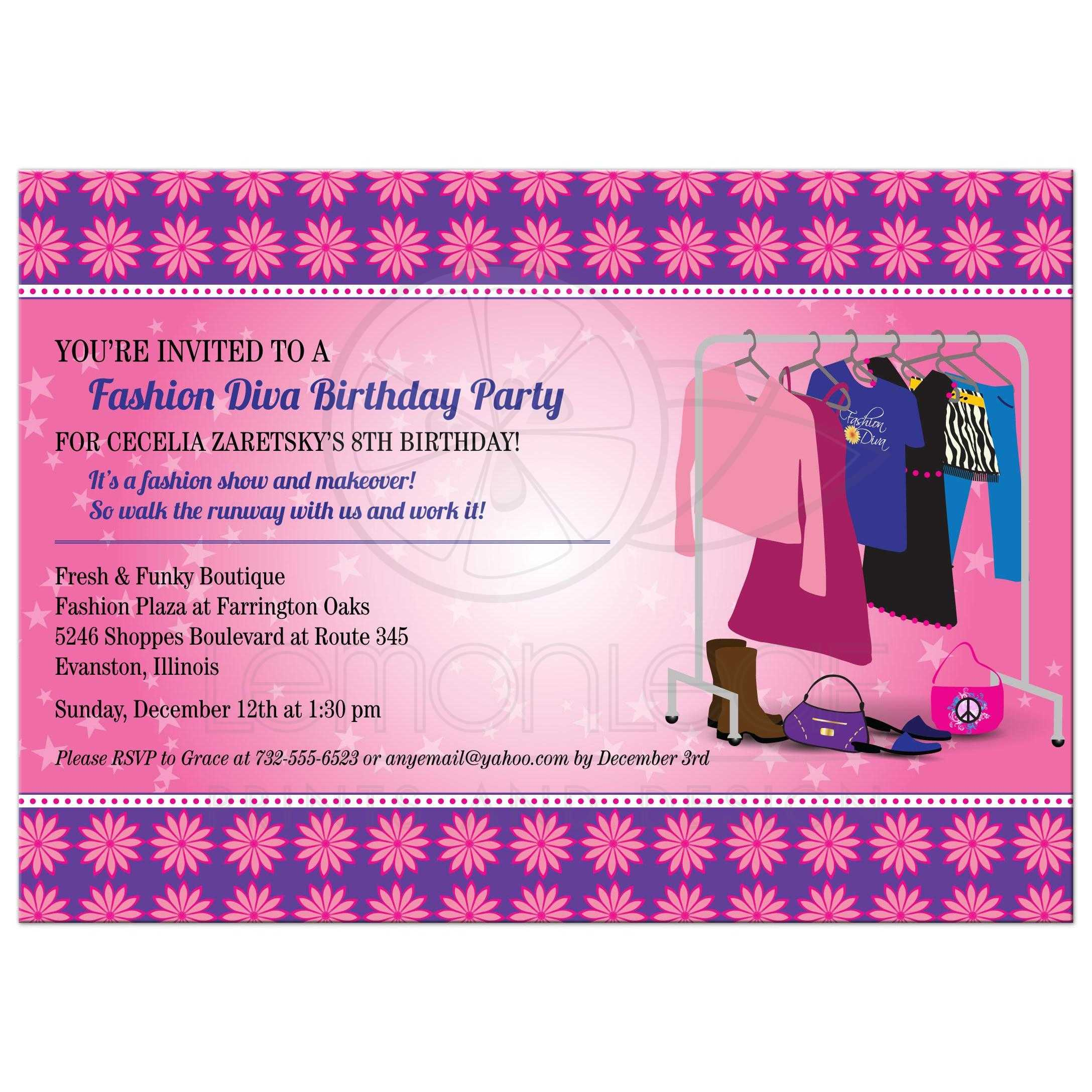 Party Invitation - Fashion Diva Runway Show