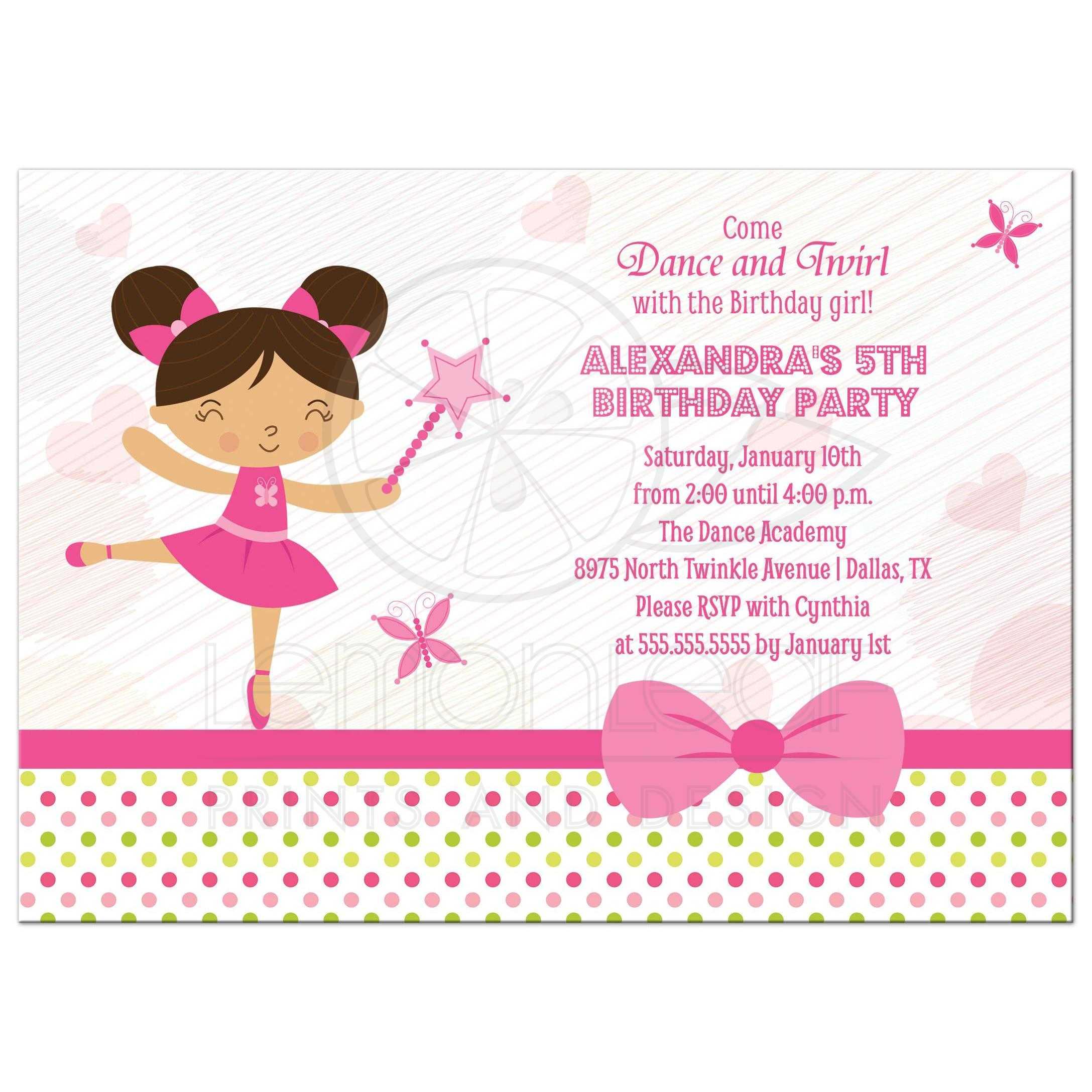 Birthday Party Invitation - Girls Pink Ballerina Fairy - Brown Hair