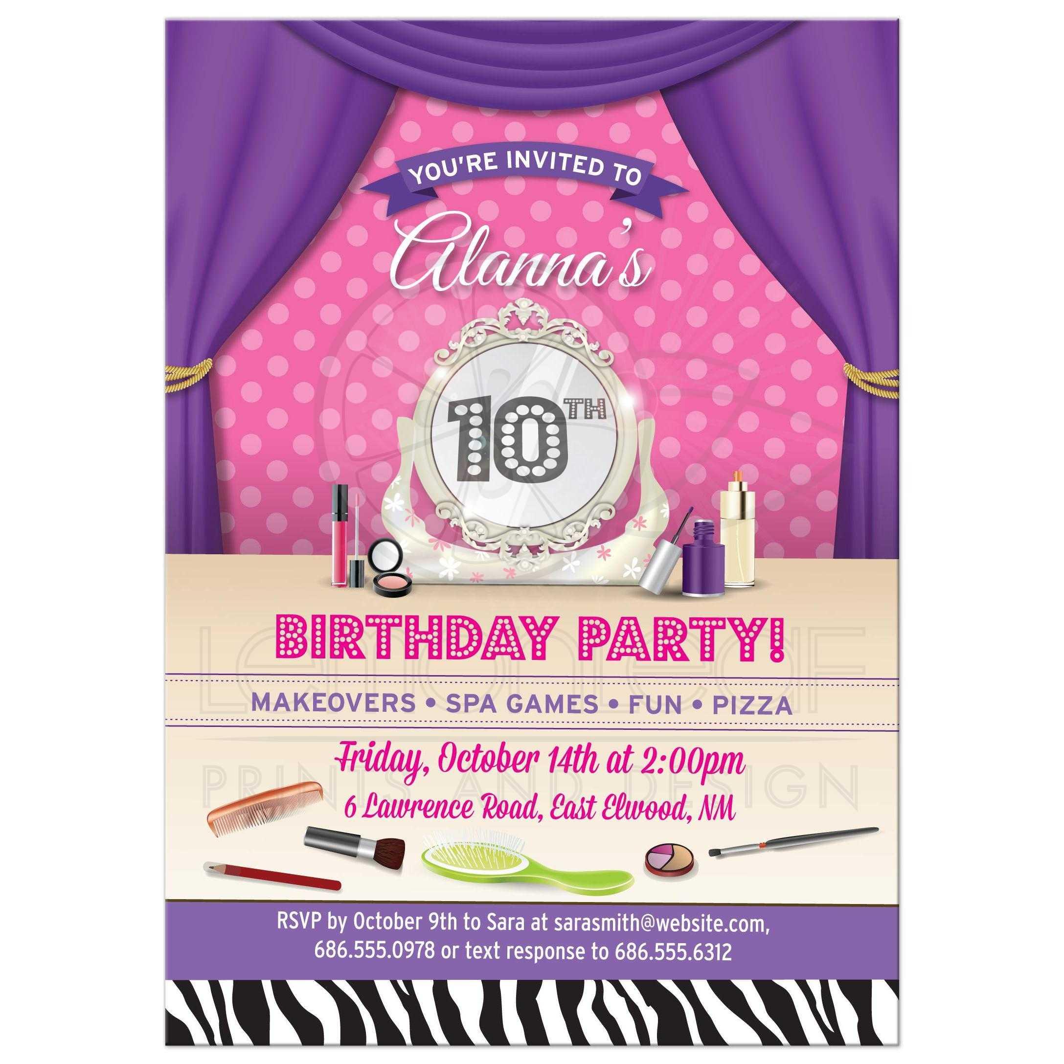 Birthday Party Invitation Makeover Spa Tween