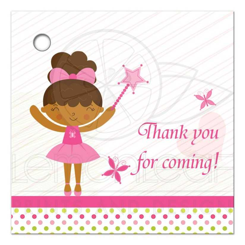 Thank You For Coming Favor Gift Tags Pink Ballerina Fairy