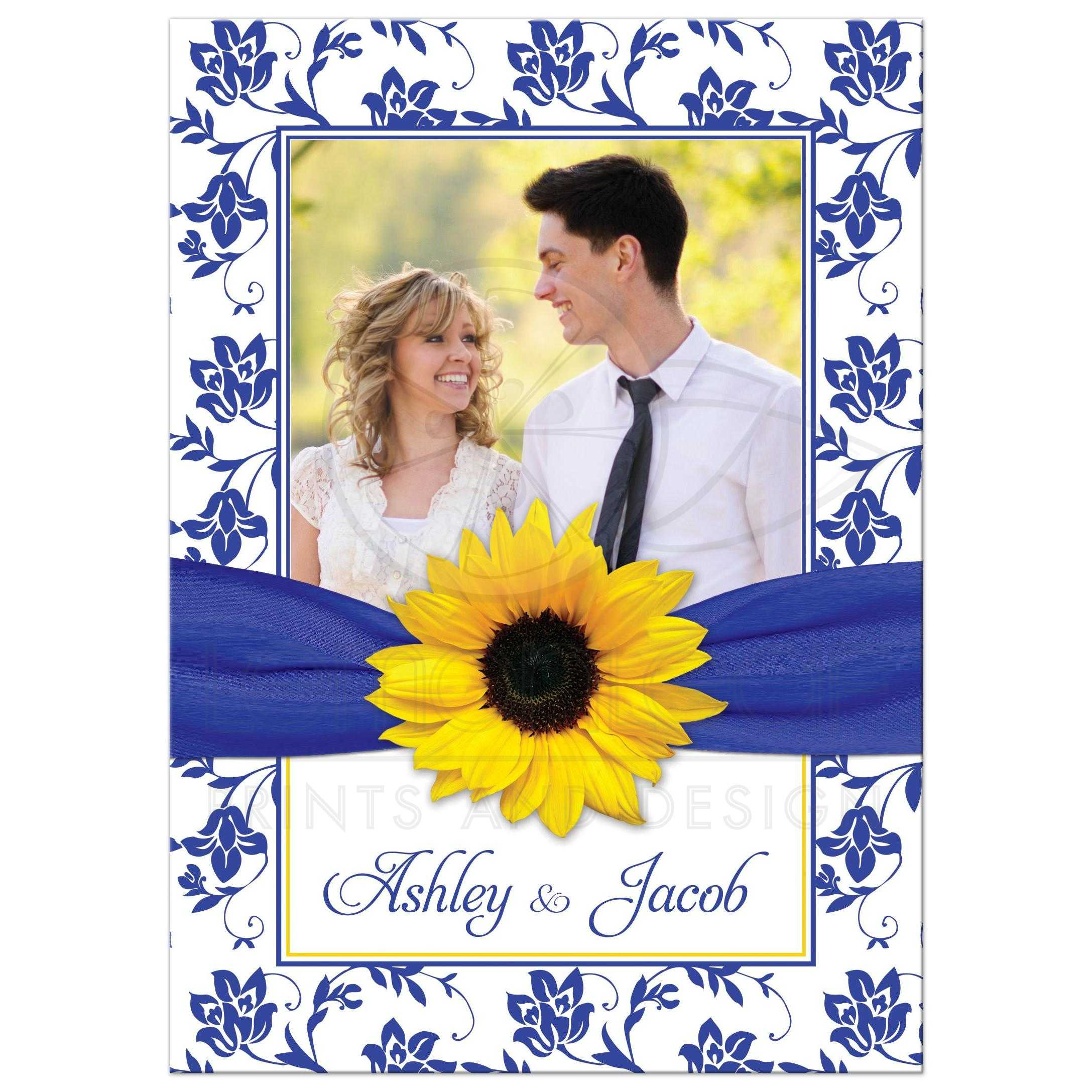 Yellow Sunflower White And Royal Blue Damask Floral Ribbon Photo Wedding Invitation Front