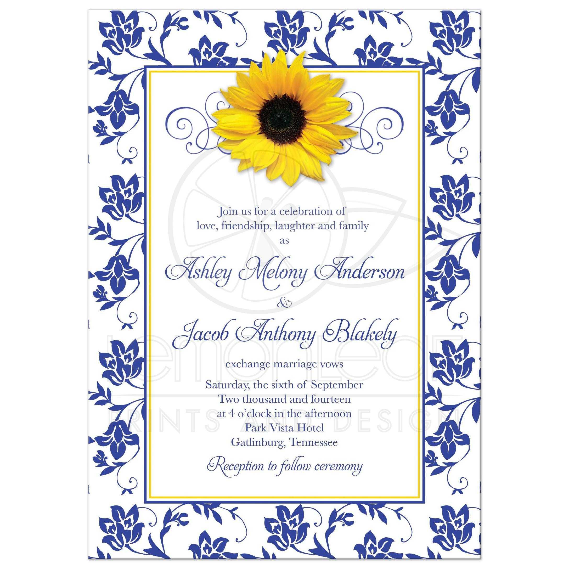 photo wedding invitation  sunflower damask royal blue yellow