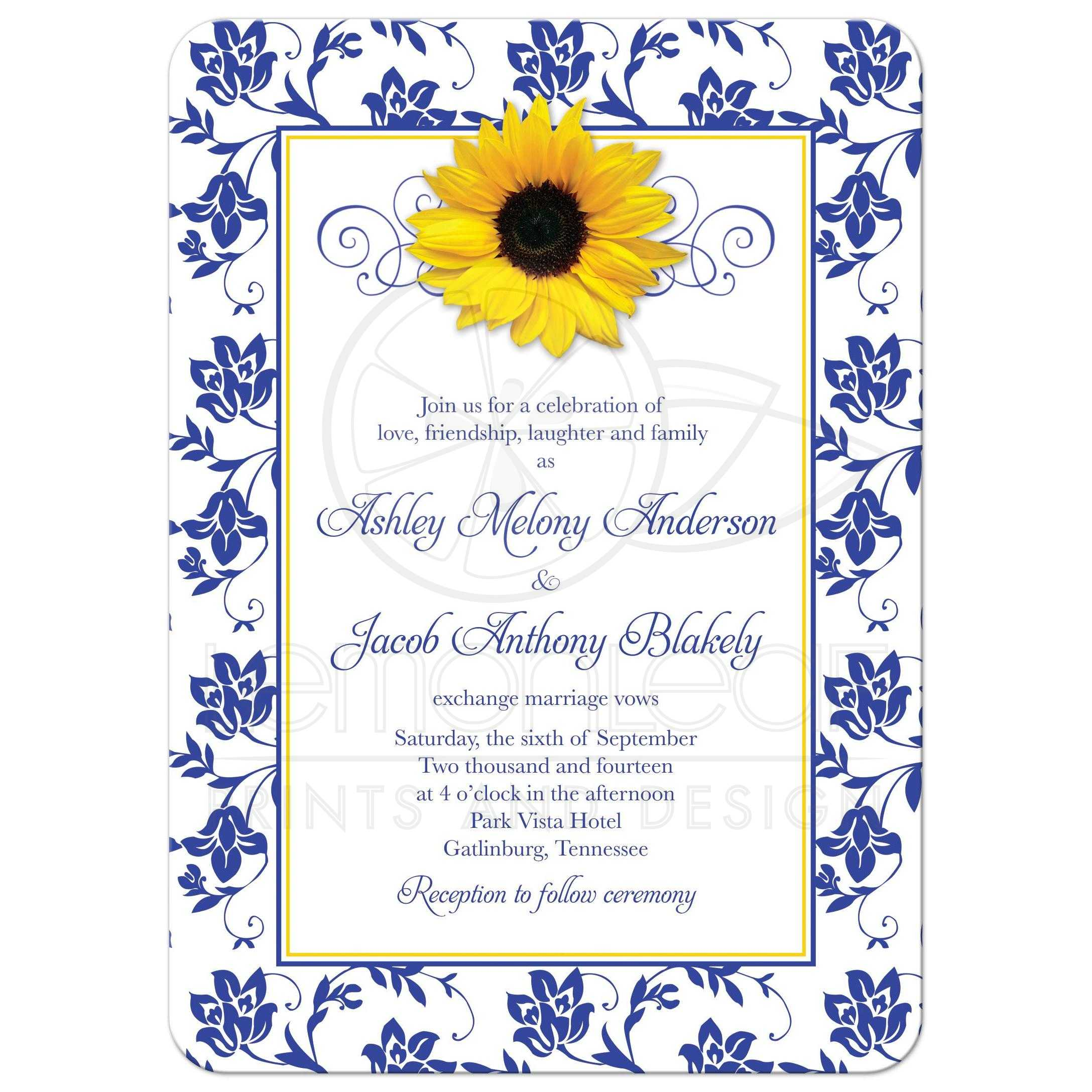 Photo Wedding Invitation | Sunflower Damask Royal Blue Yellow