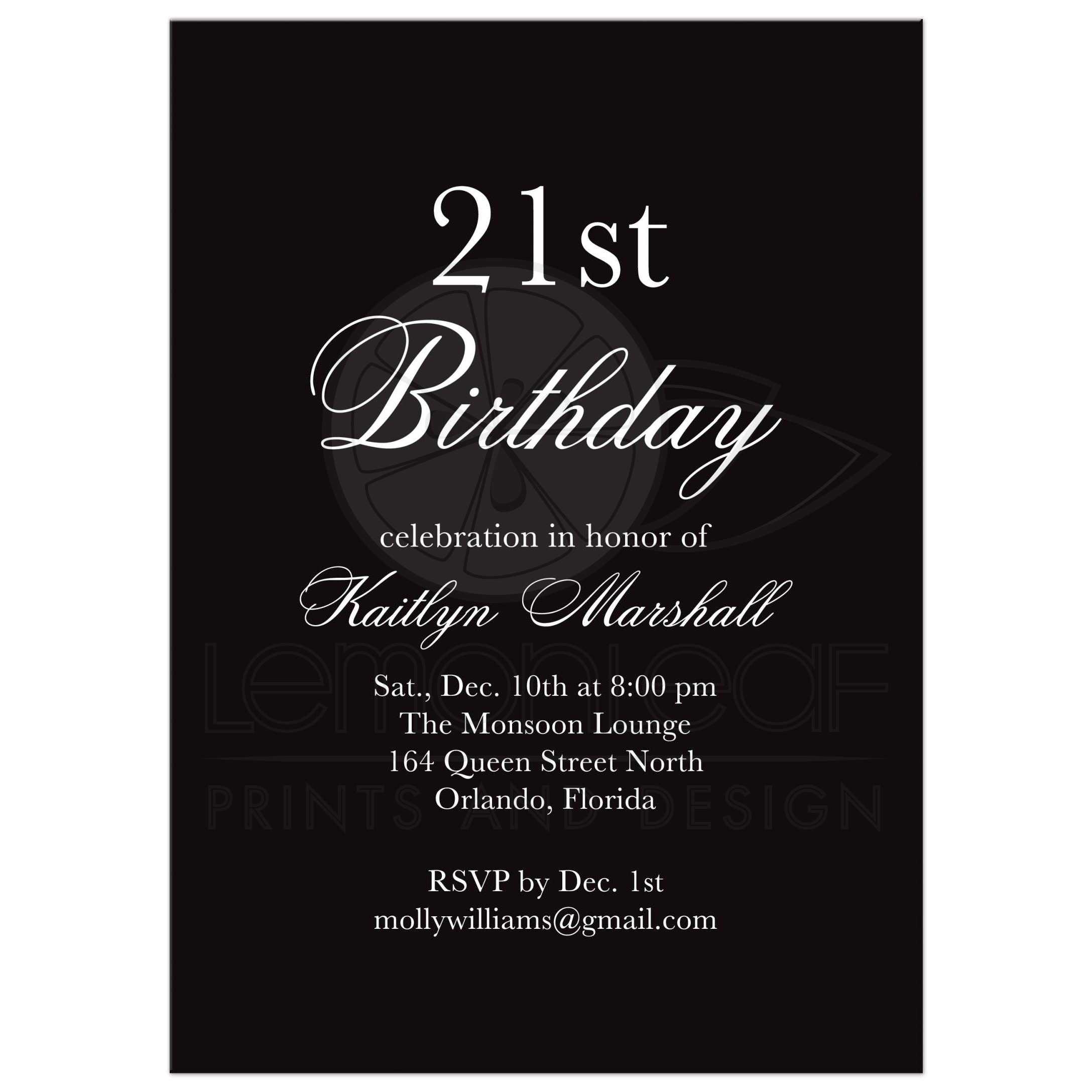 Birthday Invitation Black White Time to Drink Champagne and