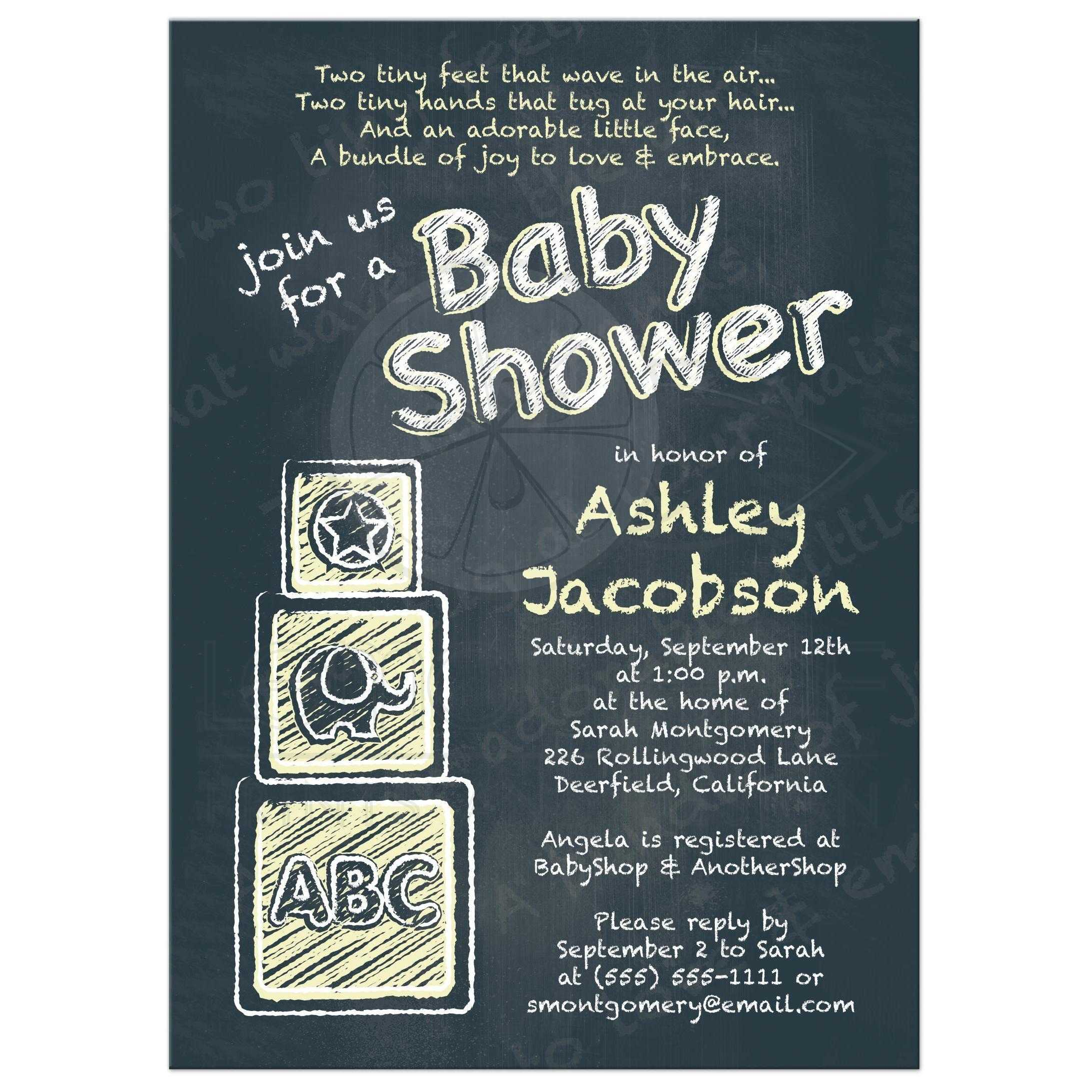 Chalkboard baby shower invitation abc alphabet blocks baby yellow abc alphabet block chalkboard yellow baby shower invitation front filmwisefo