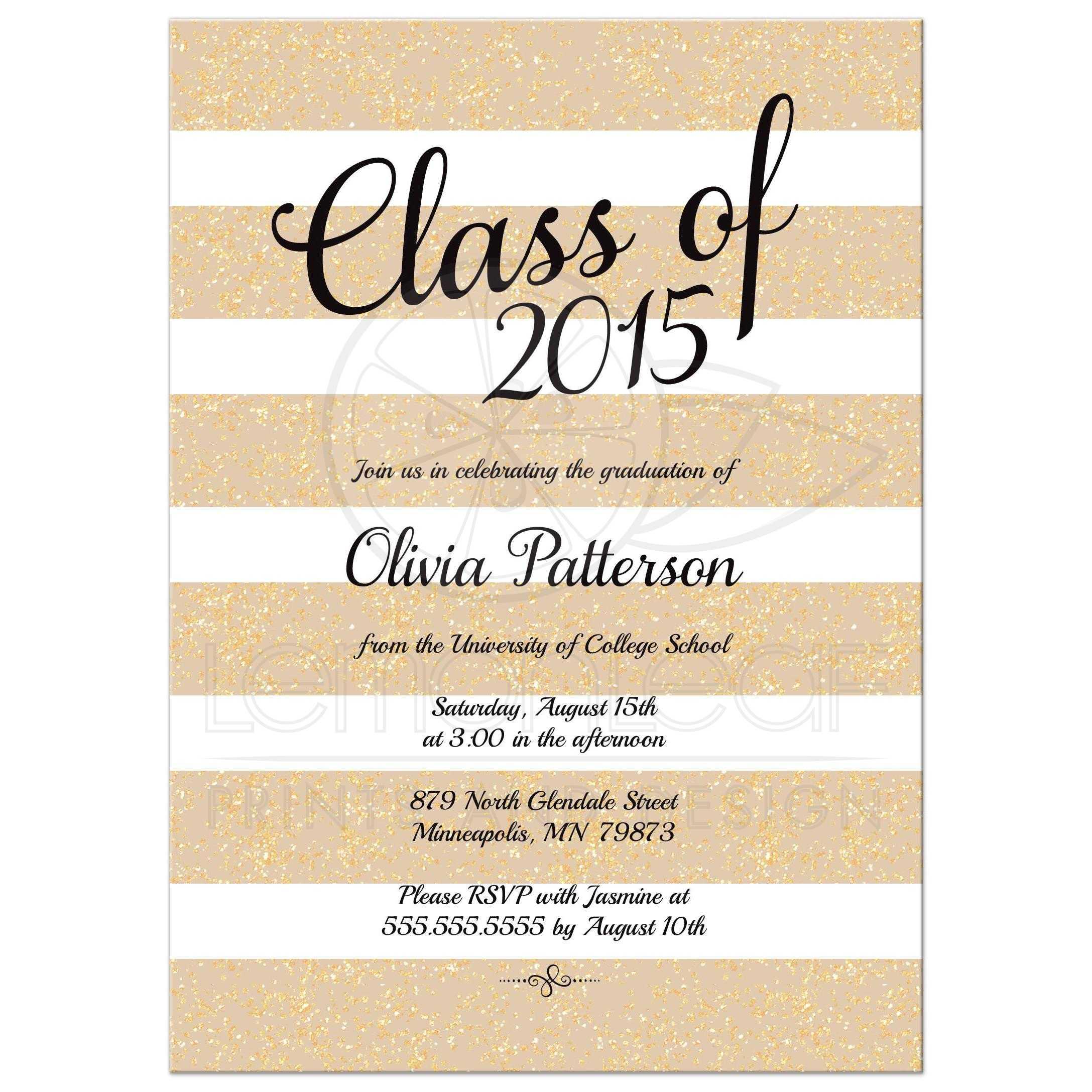 Graduation announcement nude taupe glitter stripes taupe nude and gold glitter graduation announcement filmwisefo
