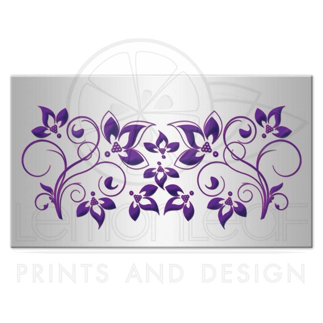 wedding place card escort card flat purple silver joined hearts printed bow