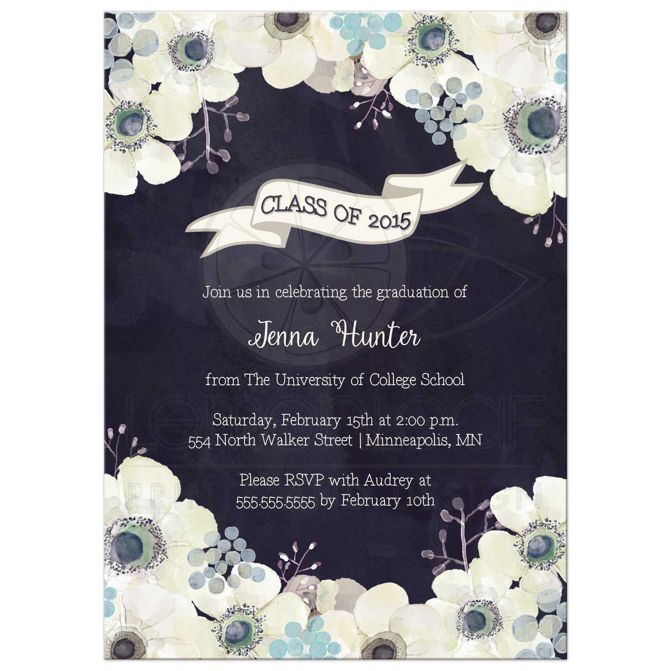 class of 2015 graduation invitation midnight blue anemone floral