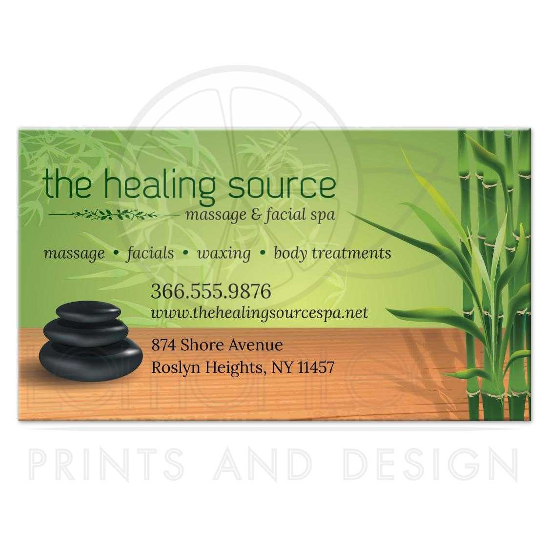 Business Card - Serene Massage Stones and Bamboo Appointment Card