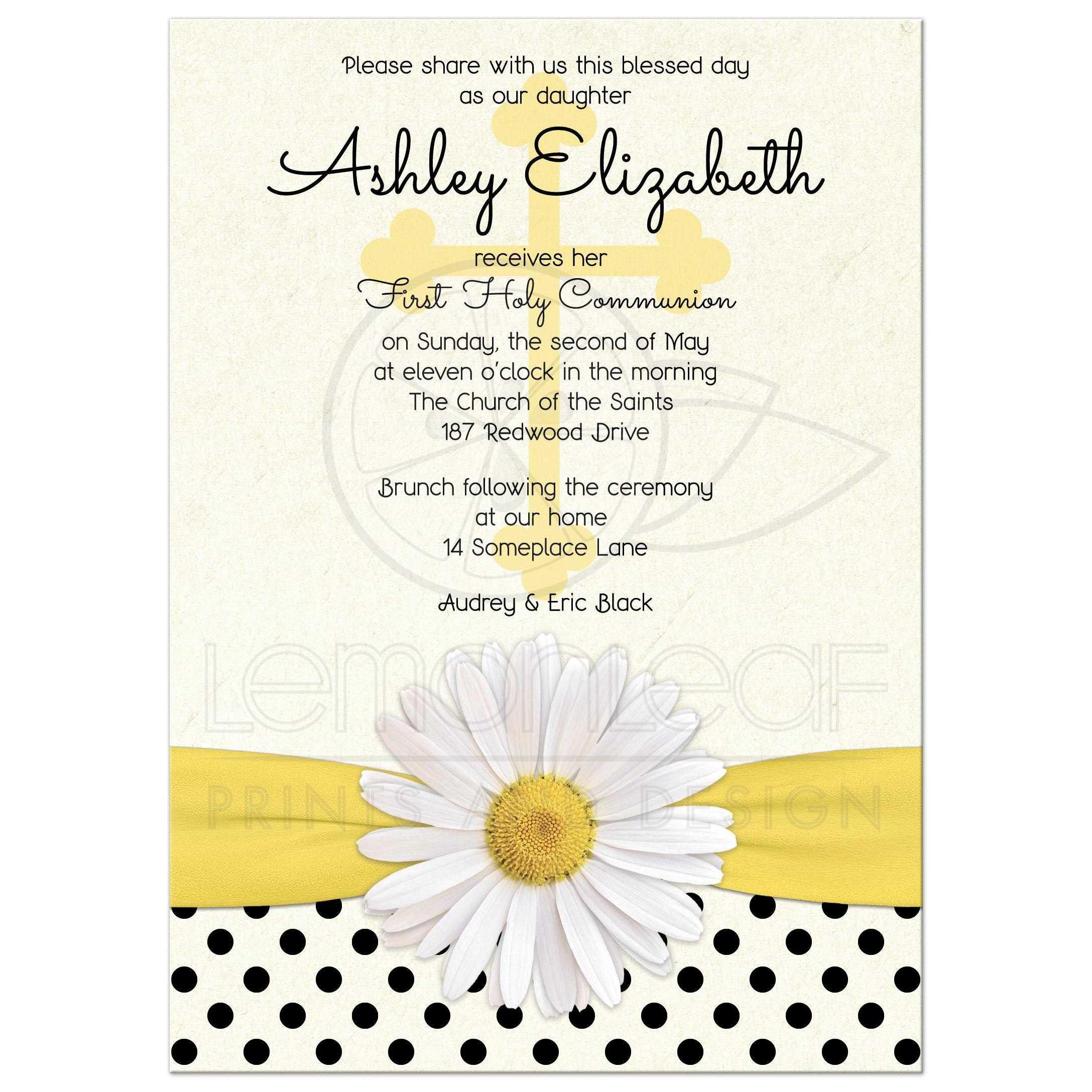 Communion Invitation Daisy Polka Dot Ribbon