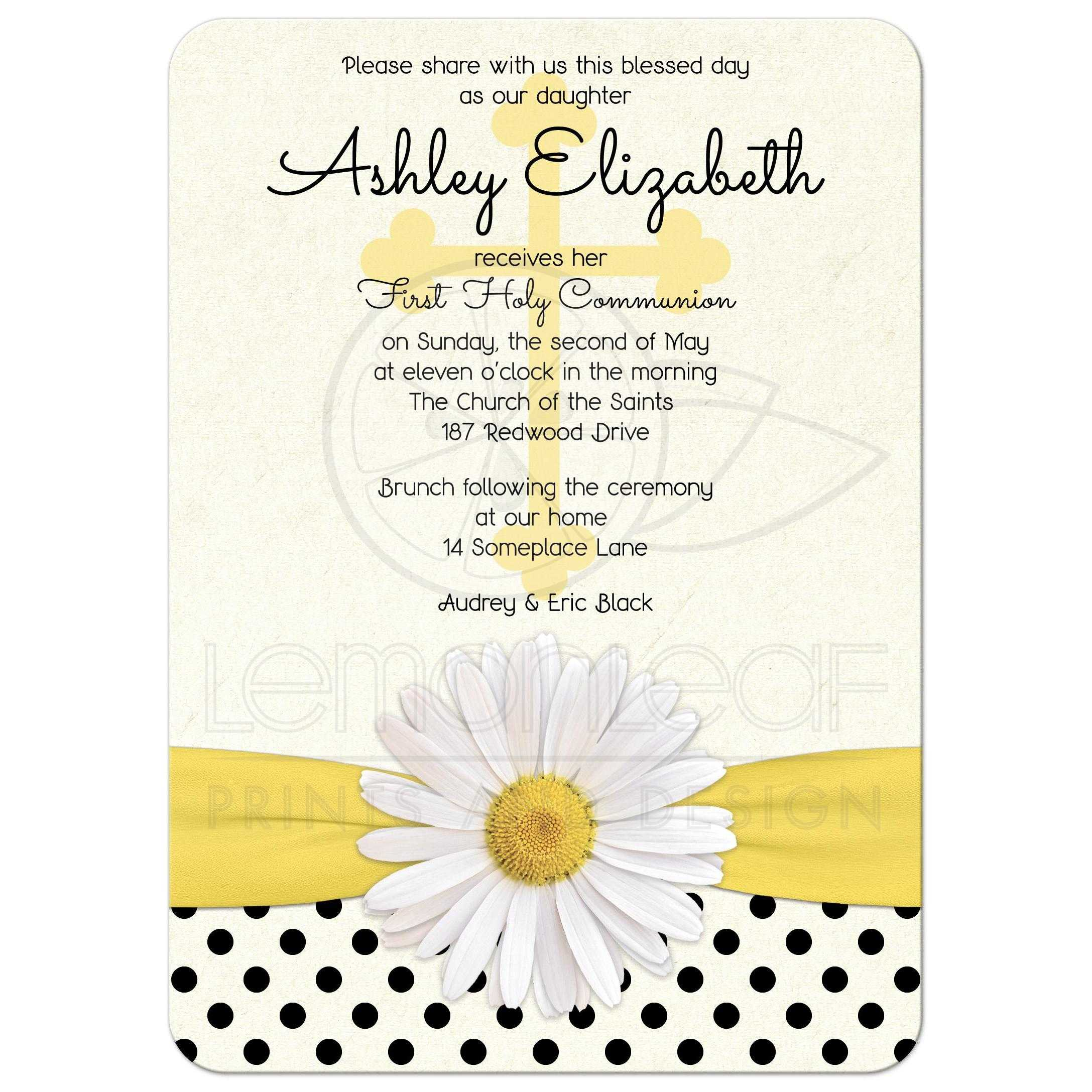 Communion Invitation Daisy Polka Dot Ribbon