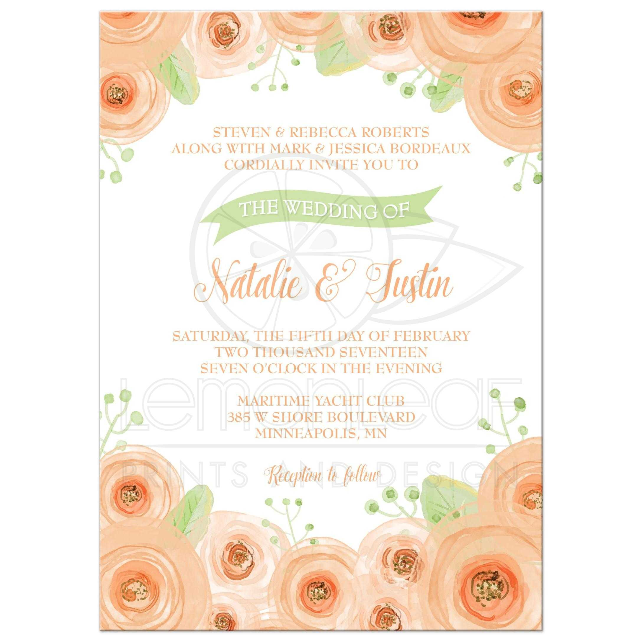 Wedding Invitation Peach And Green Floral Watercolor