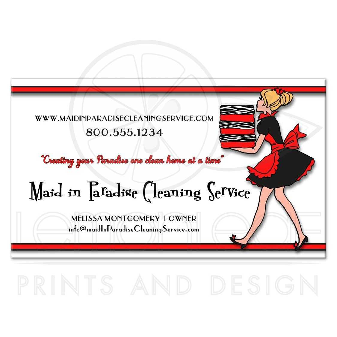 Red Stripes With Zebra Pattern Cleaning Service Business Card