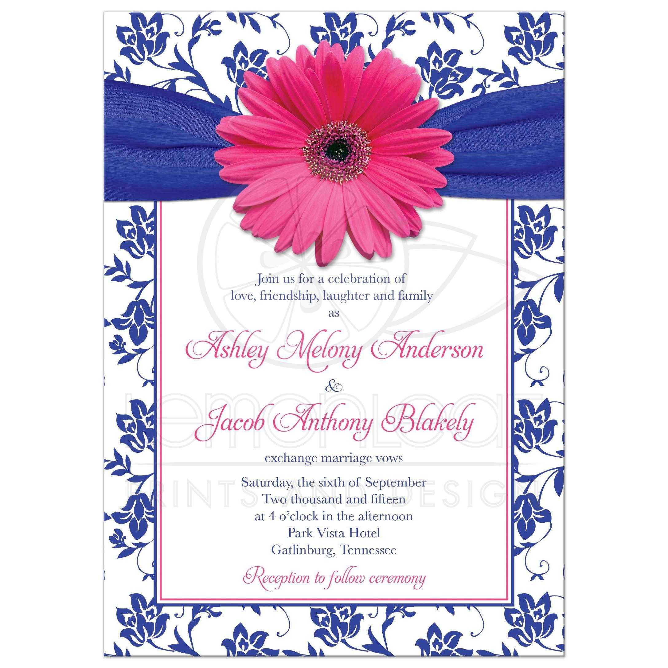 Hot Pink Gerber Daisy Royal Blue Damask Fl And Ribbon Wedding Invitation Front