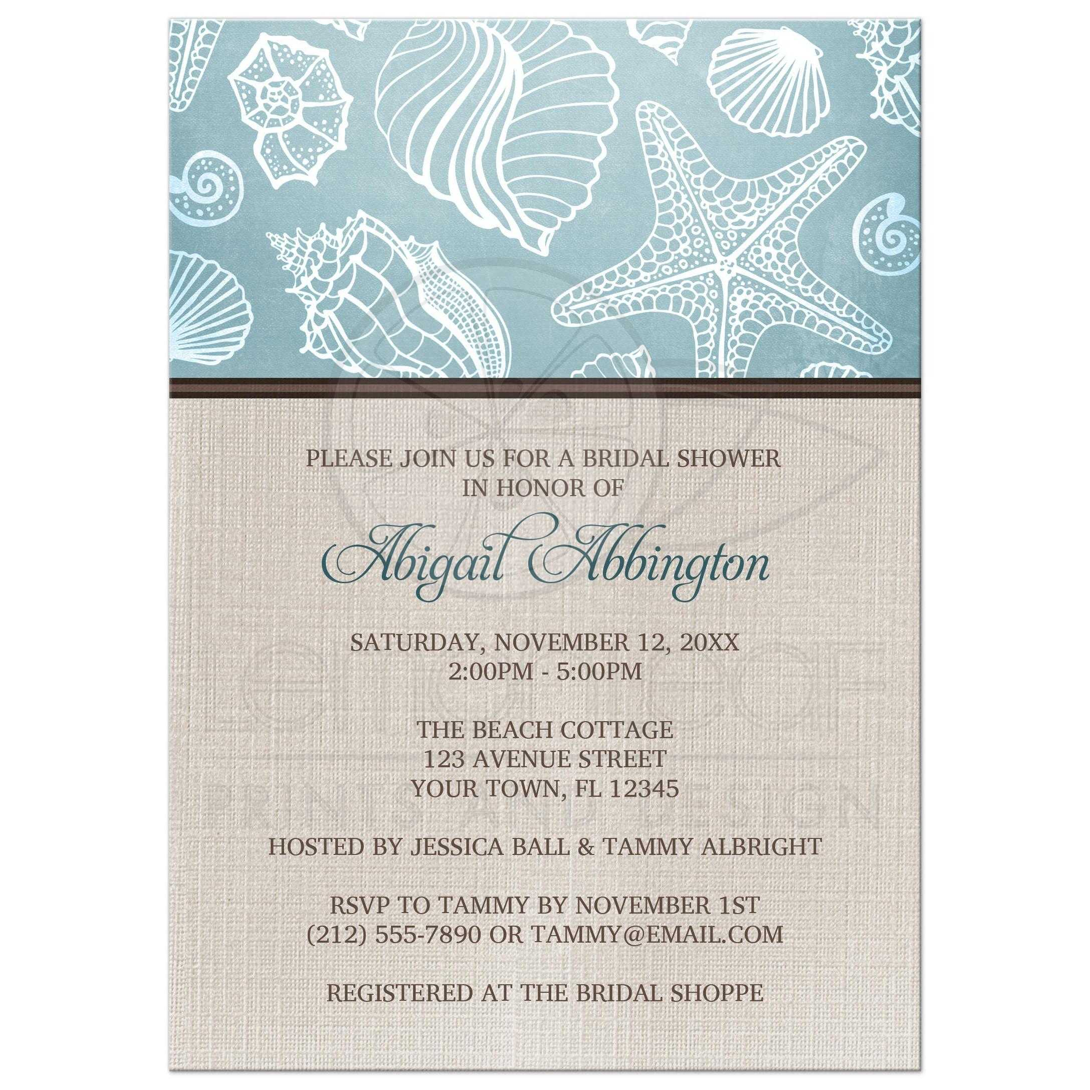 23603 Rectangle Rustic Beach Linen Seashells Bridal Shower Invitations Jpg T 1429229483