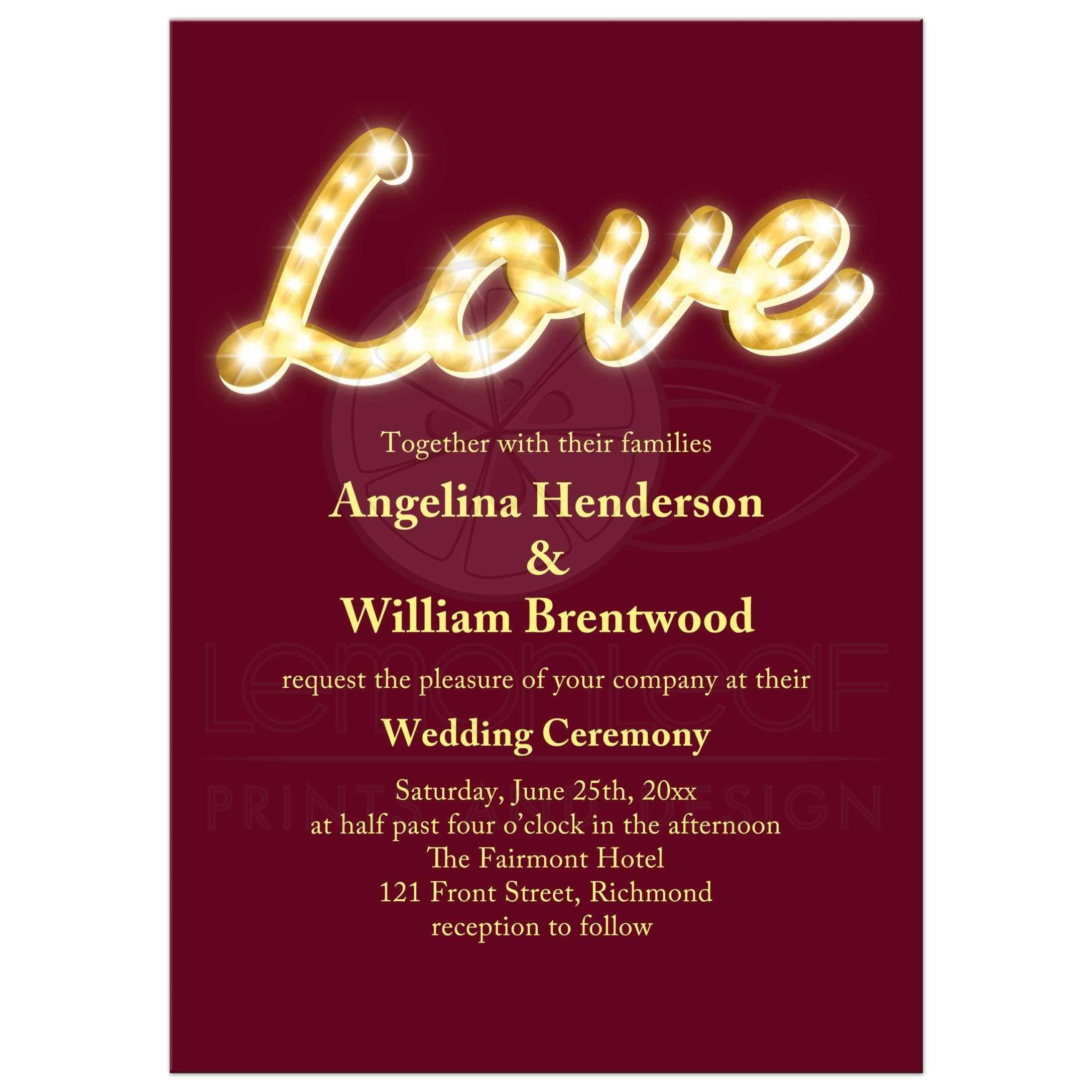 Wedding Invitation - Vintage Marquee Lights - marsala