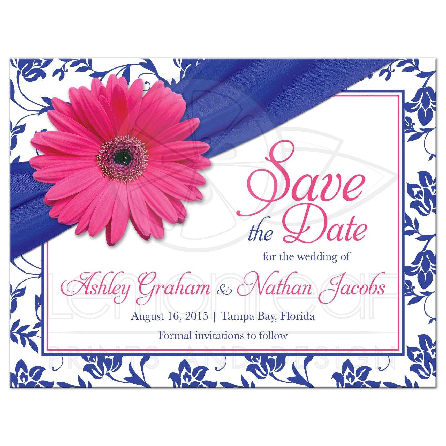 Wedding Save The Date Announcement Pink Daisy Royal Blue Damask