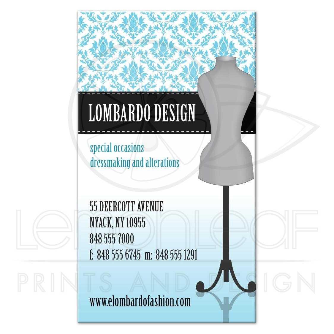 Business Card Blue Damask Dress Form Fashion Designer