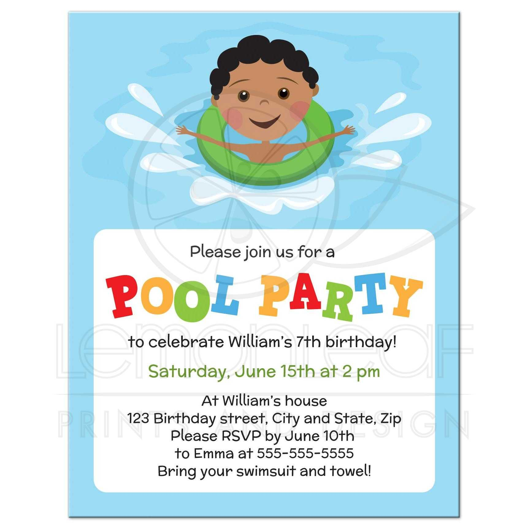 African american boy with inflatable, pool party invitation for kids