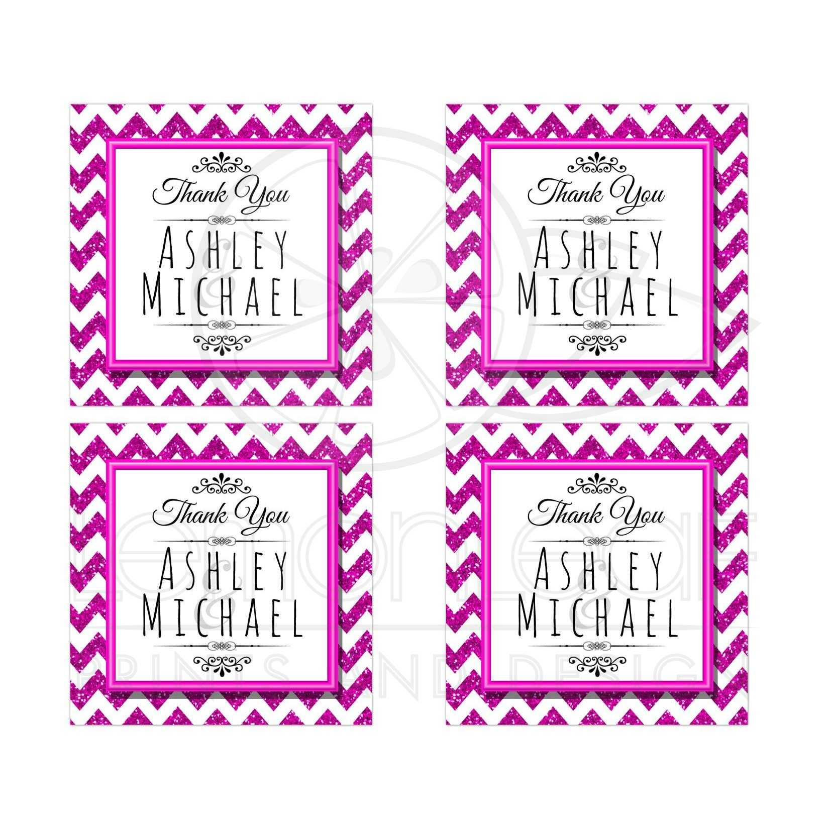 Pink Sparkly Chevron Personalized Party Favor Thank You Stickers