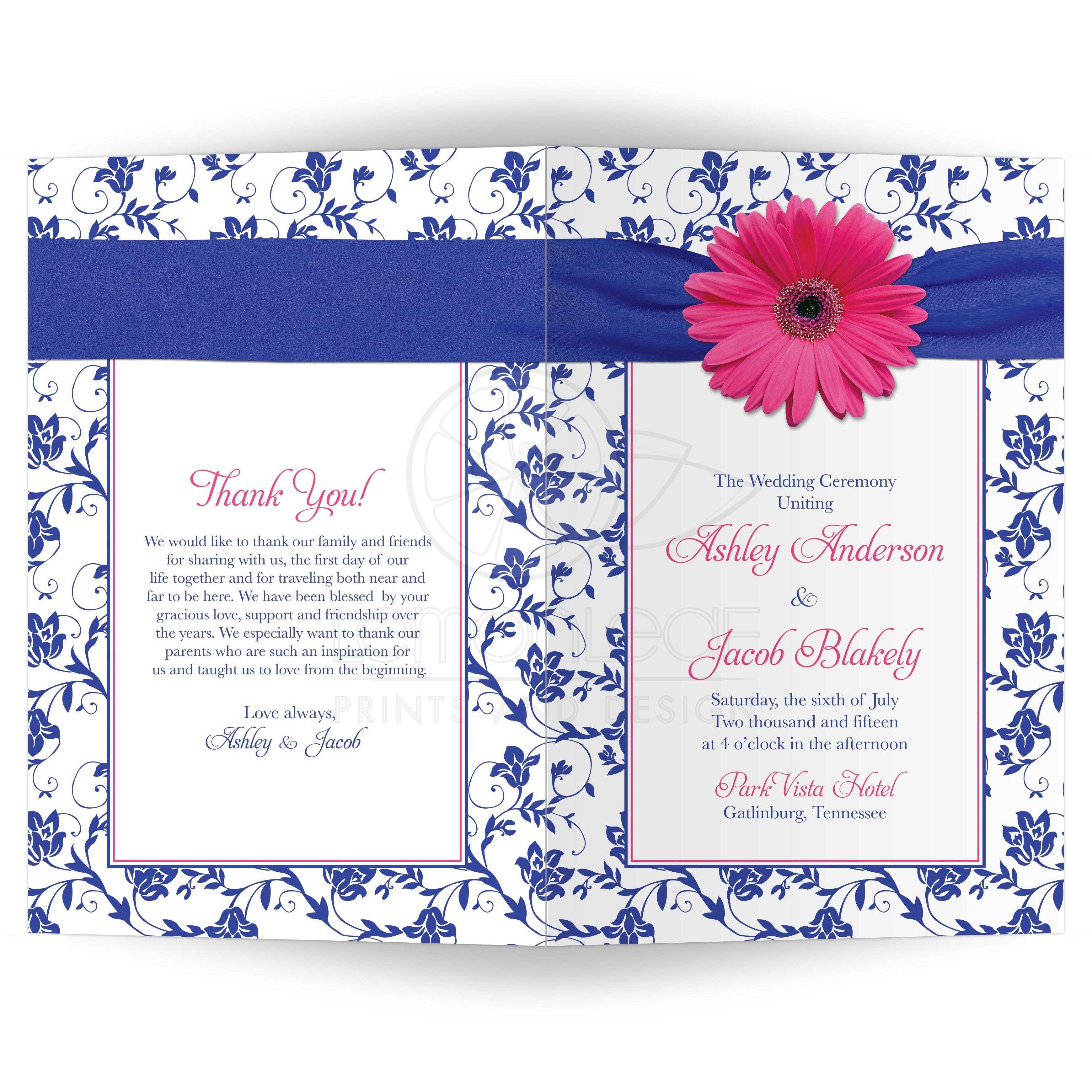 wedding program cover pink daisy royal blue damask