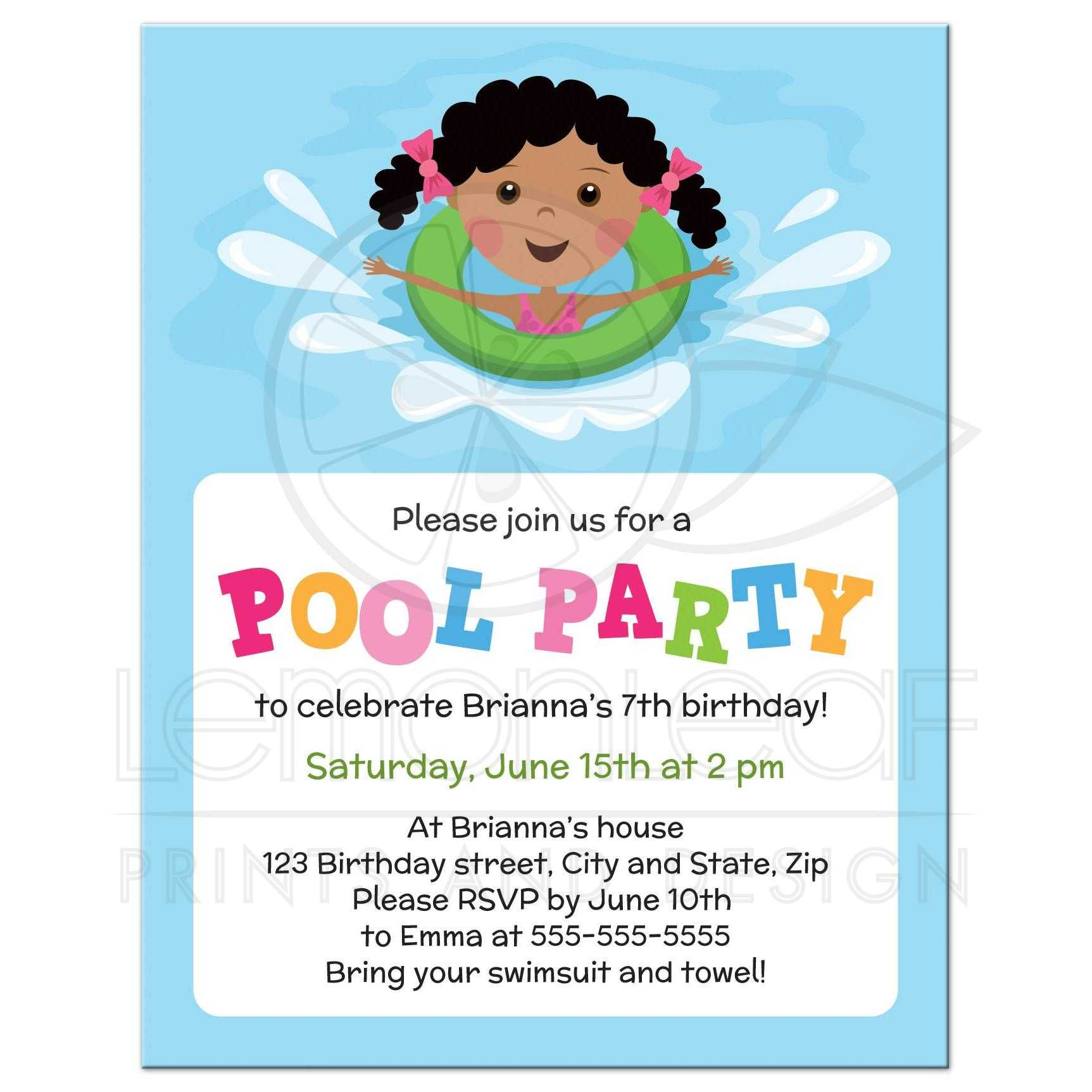 Cute african american girl with inflatable pool party invitation – Pool Party Invitations for Girls