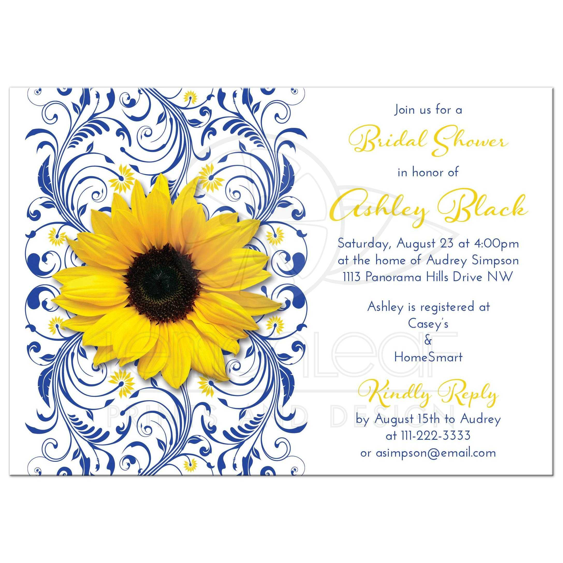 cobalt blue and white floral yellow sunflower elegant bridal shower invitation