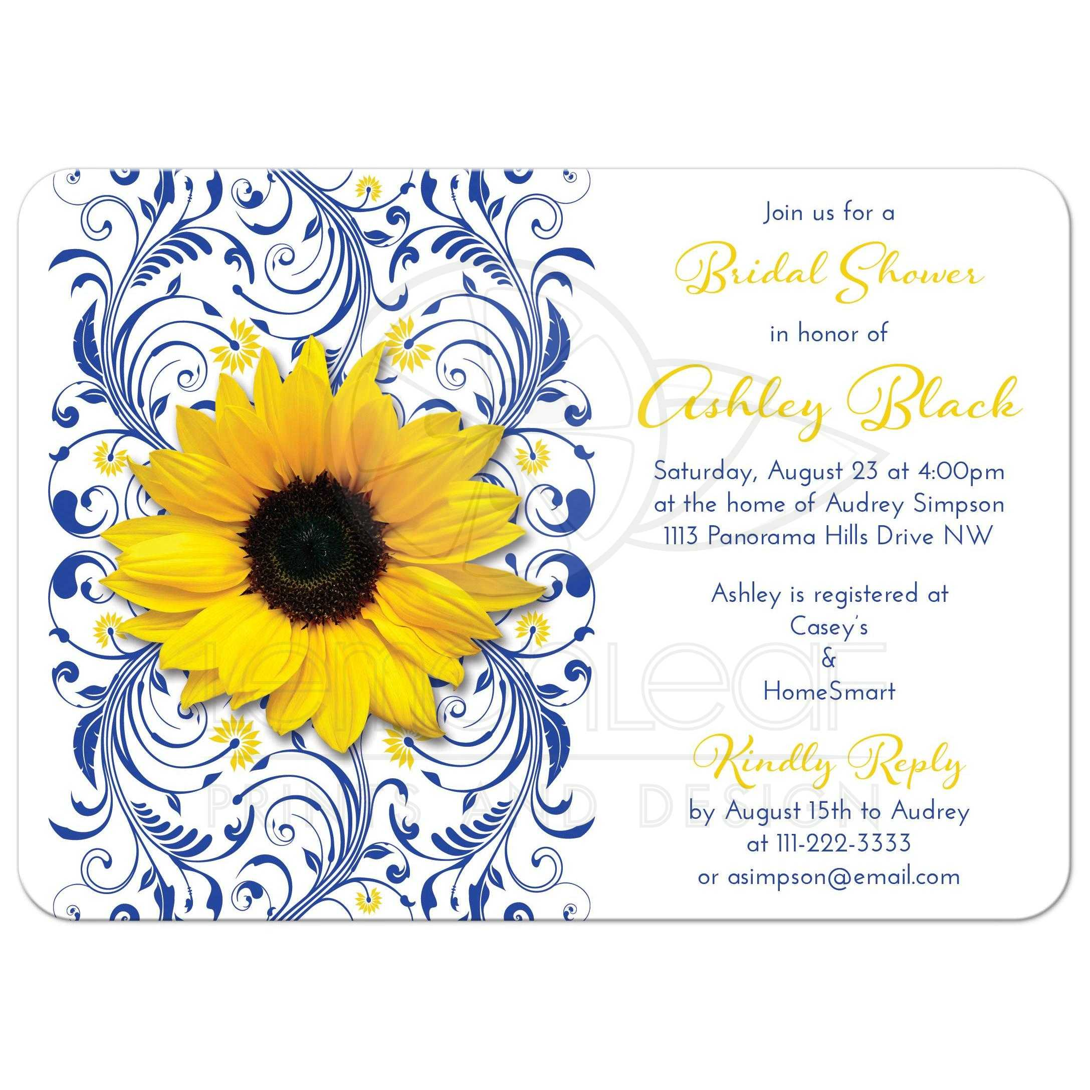 Bridal shower invitation sunflower cobalt blue floral cobalt blue and white floral yellow sunflower elegant bridal shower invitation filmwisefo Images