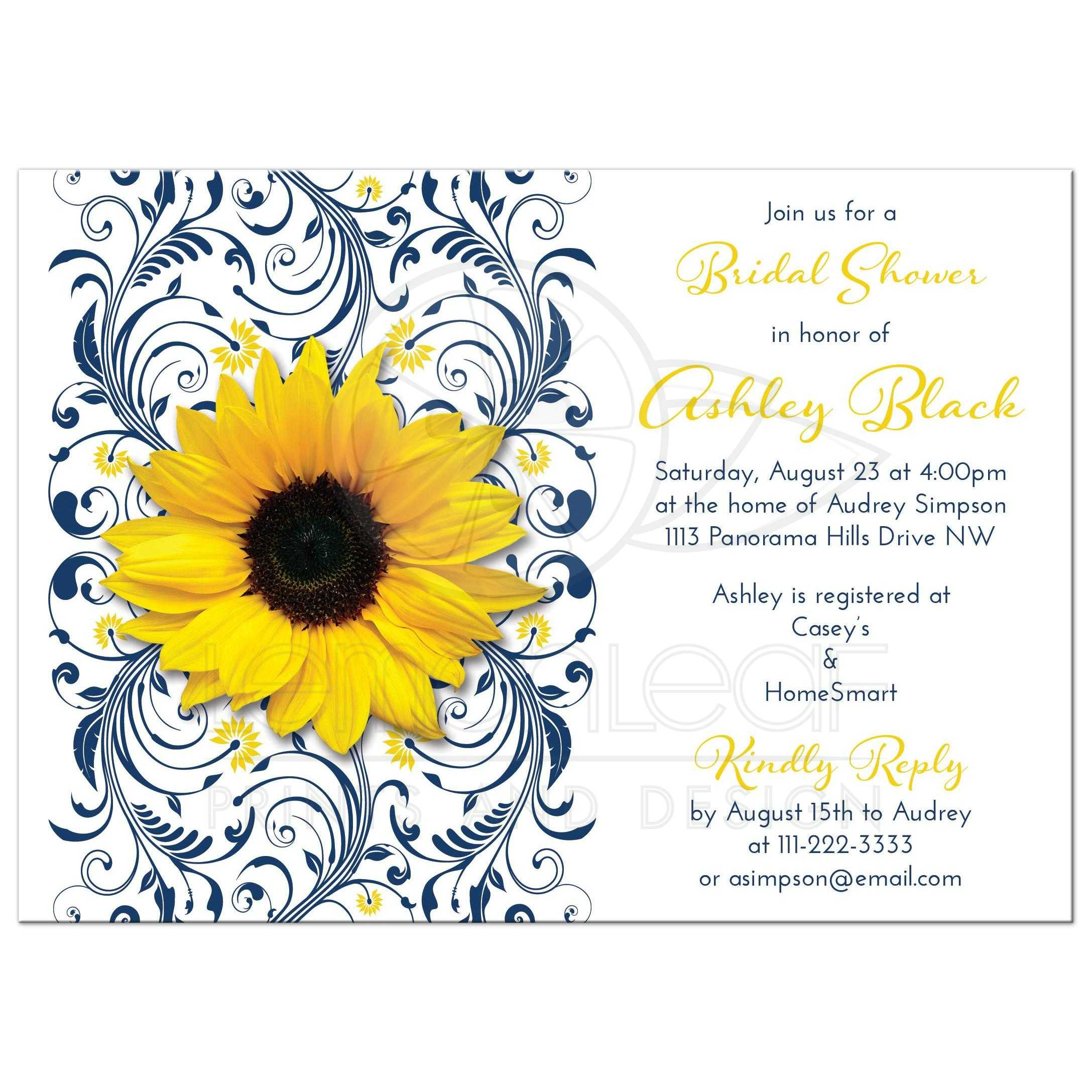 Bridal Shower Invitation Sunflower Navy Blue Floral