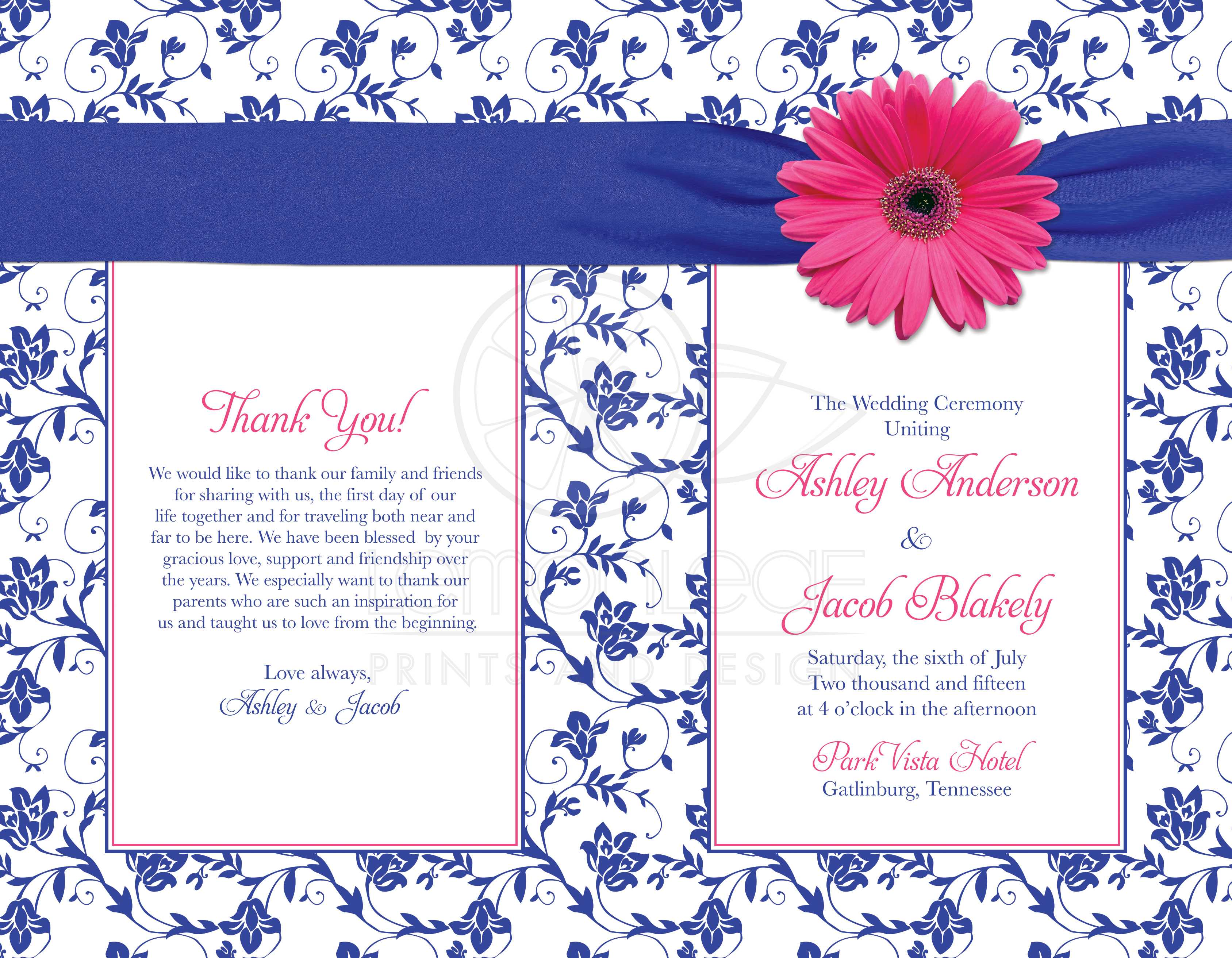 wedding program cover pink daisy royal blue damask