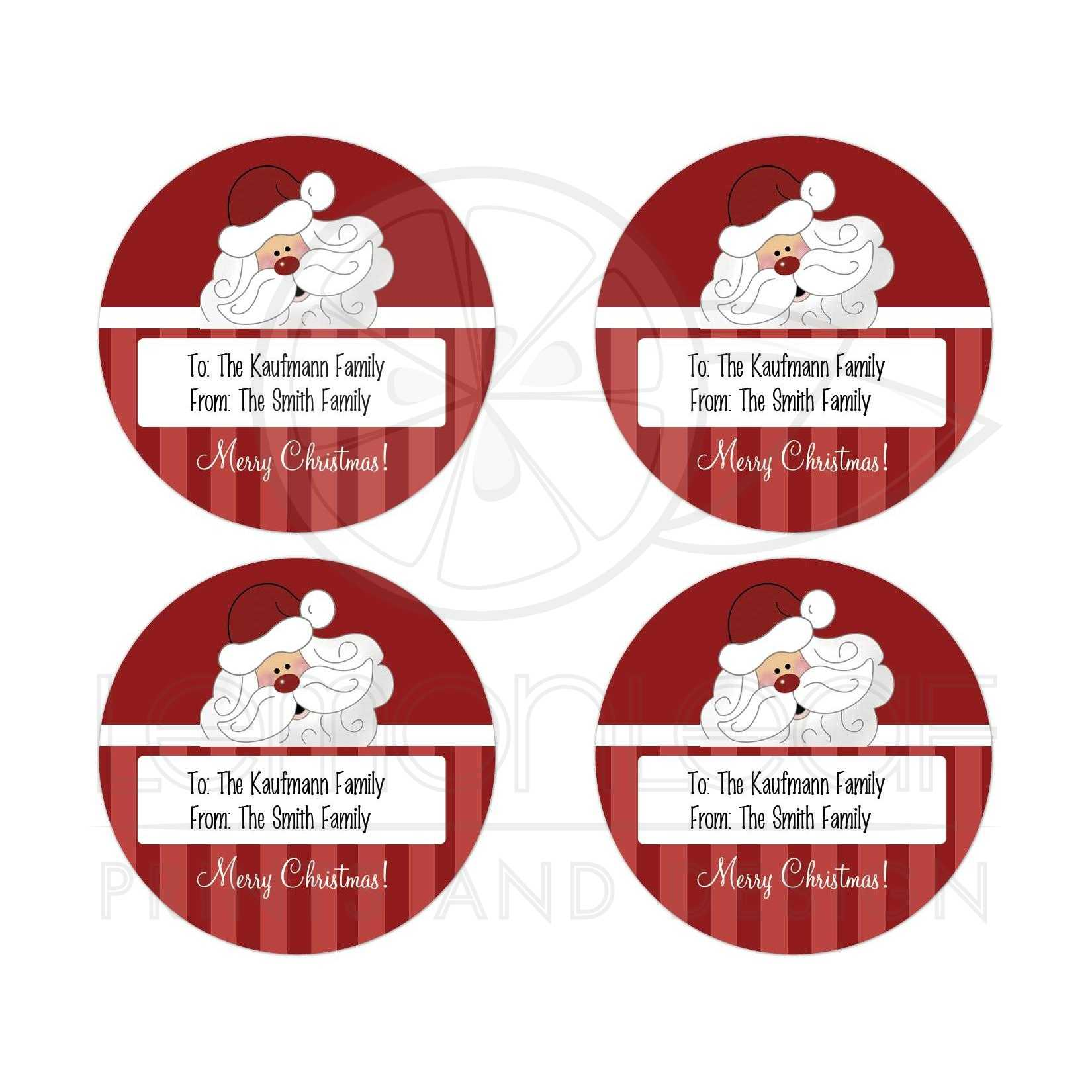 santa claus christmas gift tag round favor sticker