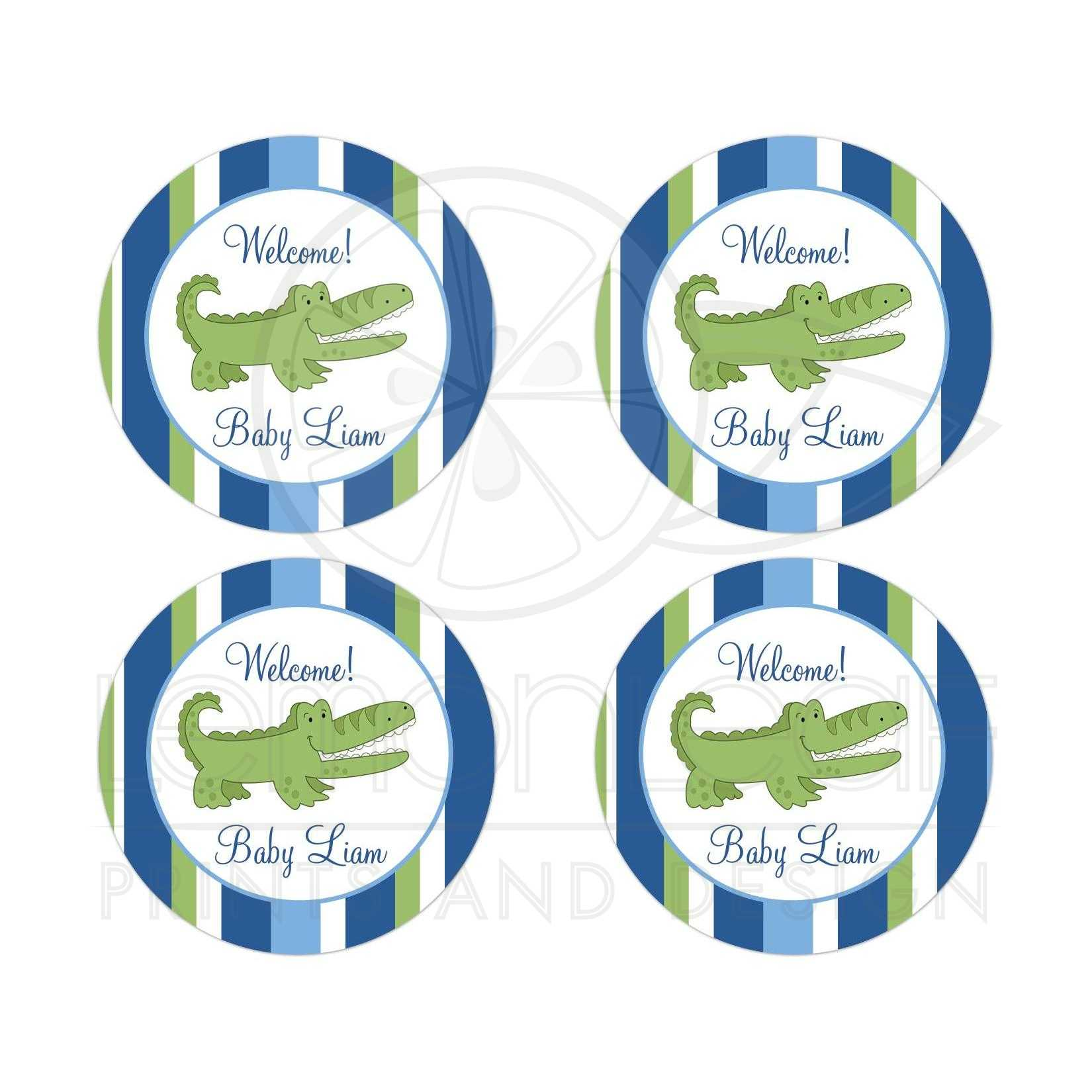 Baby Shower Stickers For Favors: Alligator Baby Shower Customized Favor Stickers