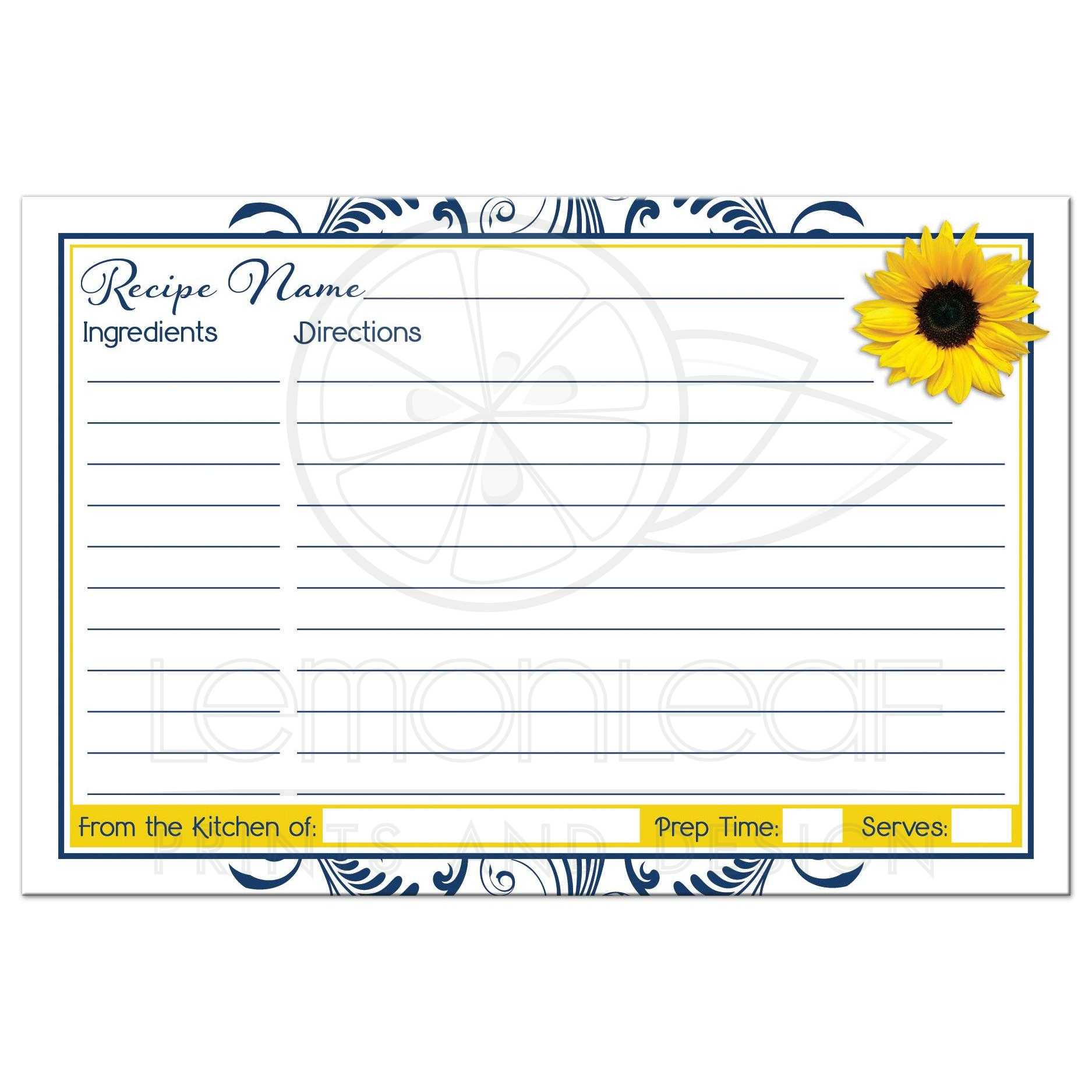 navy blue and white floral yellow sunflower bridal shower recipe card back