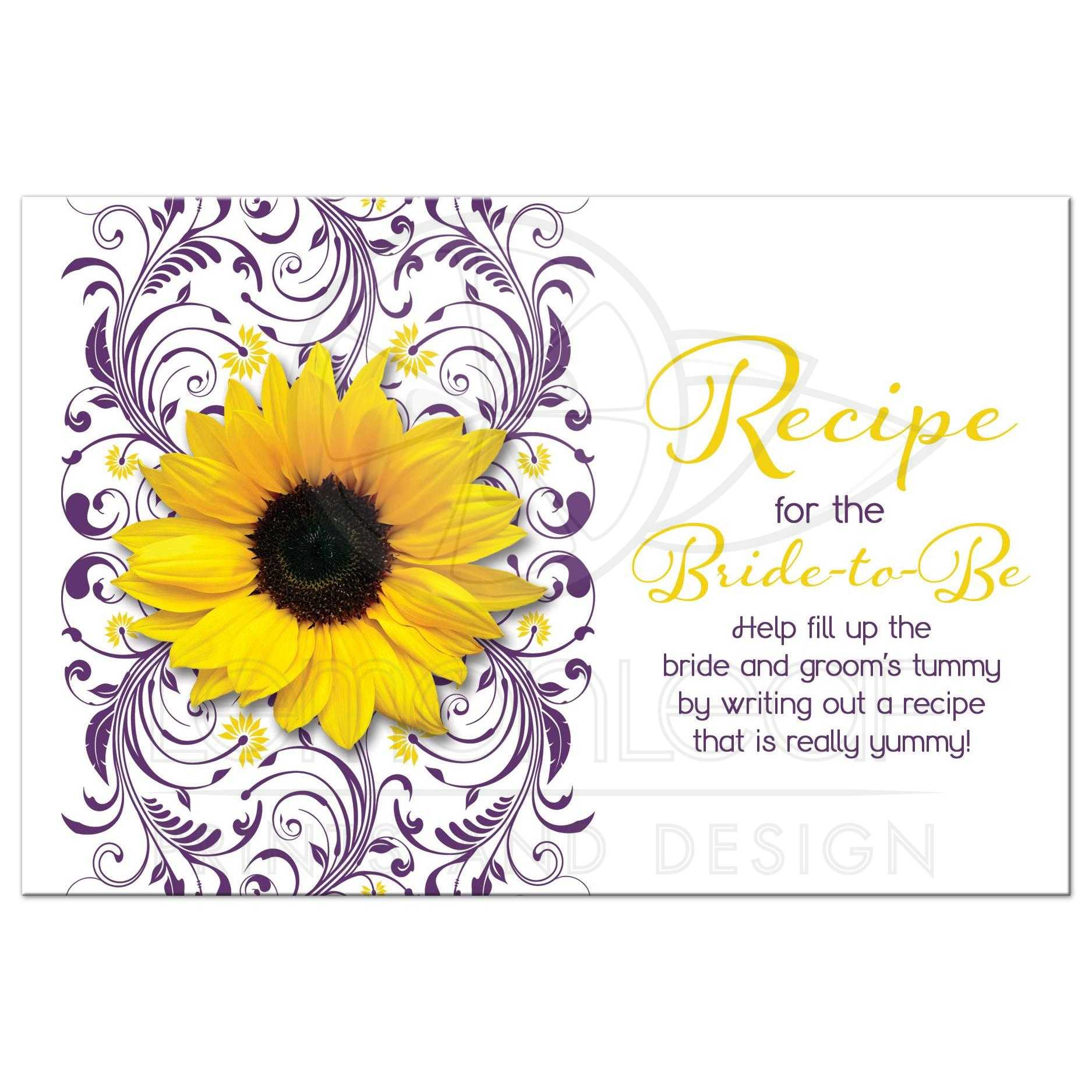 purple and white floral yellow sunflower bridal shower recipe card front