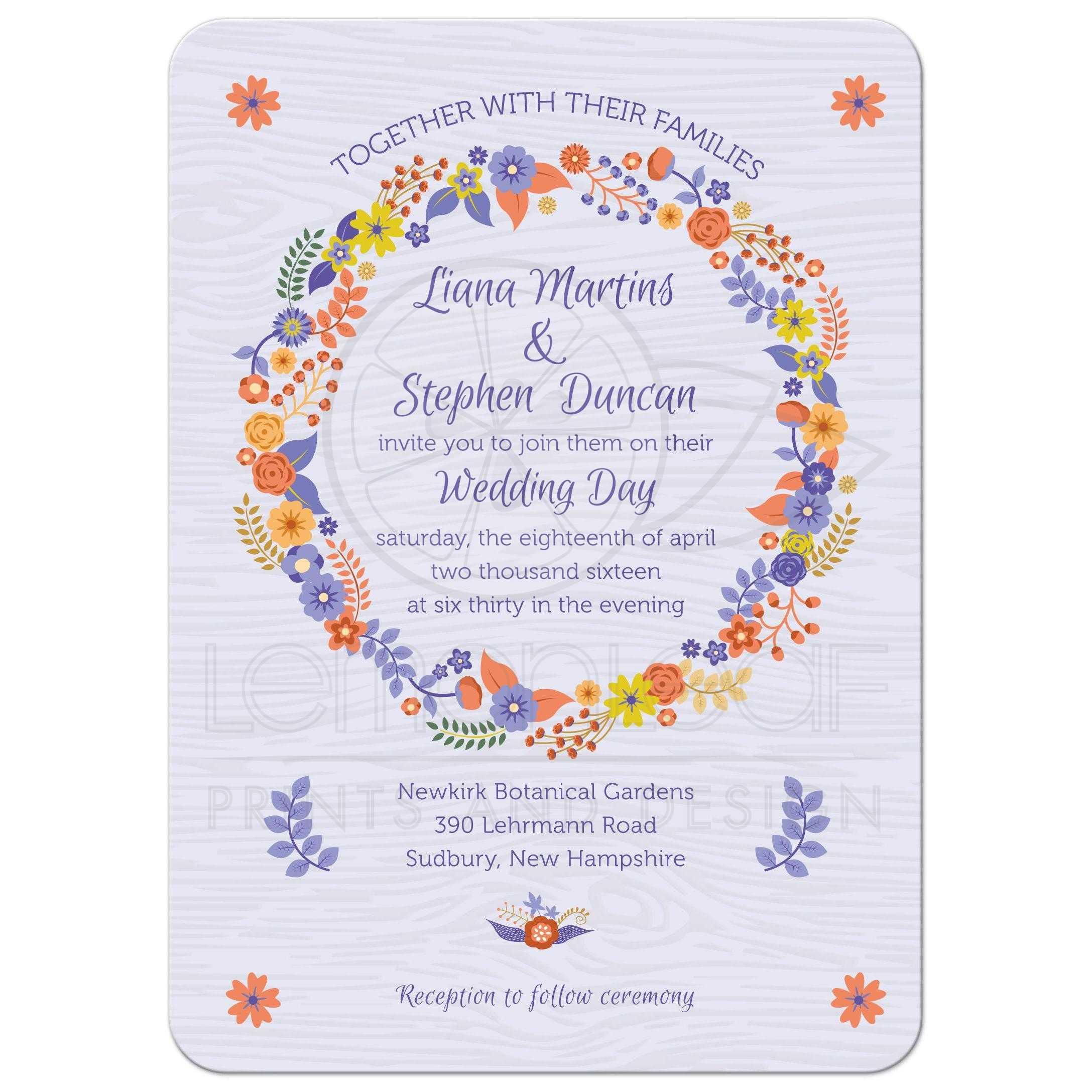 Purple Rustic Wedding Invitations: Rustic Purple Wood Grain Floral Wreath