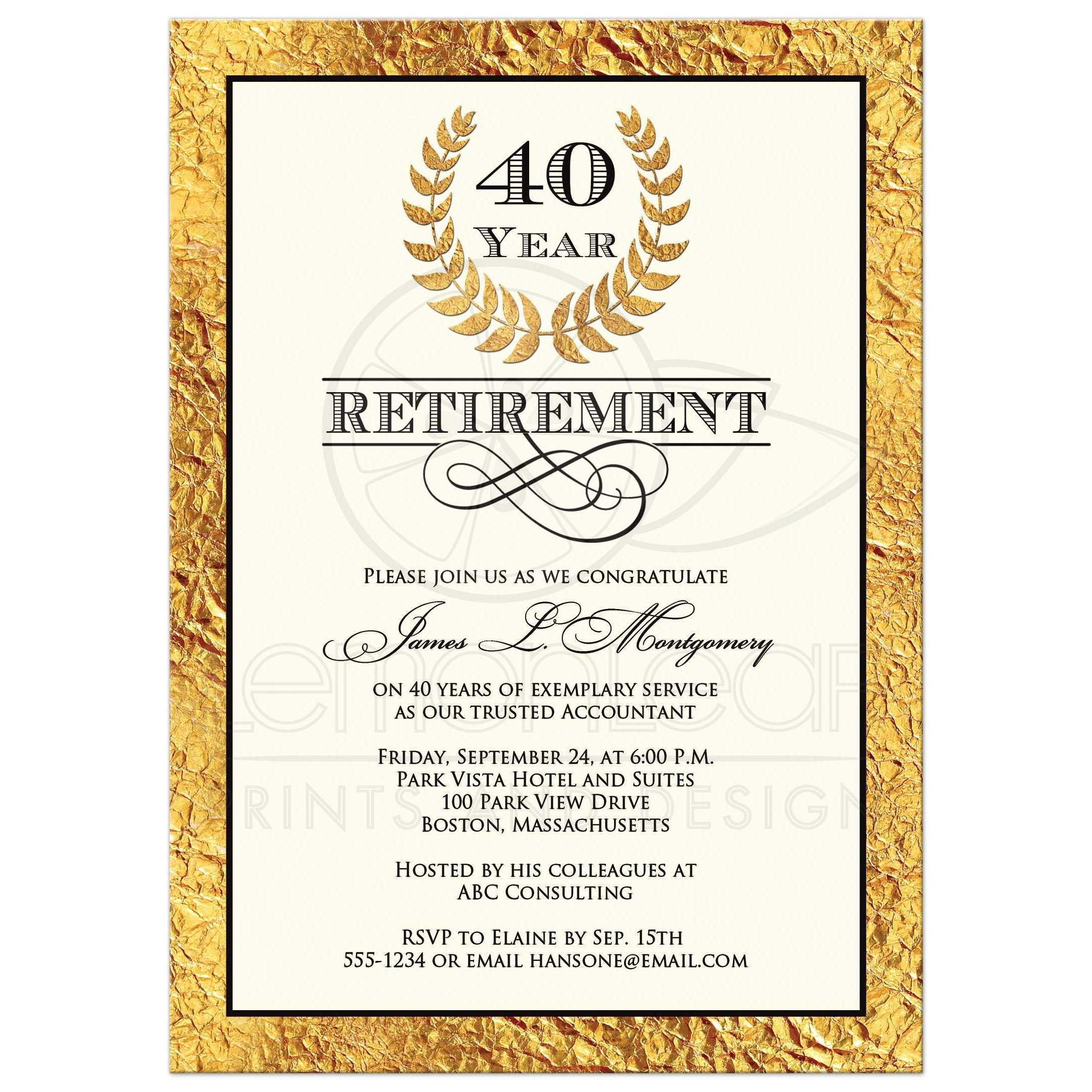 Marvelous 40 Year Retirement Invitation With Gold Laurel Wreath ...