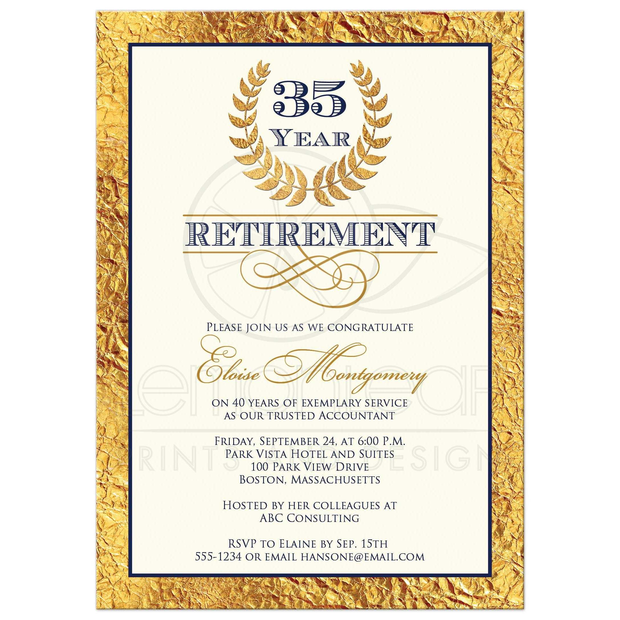 35 year retirement party invitation laurel wreath faux gold foil
