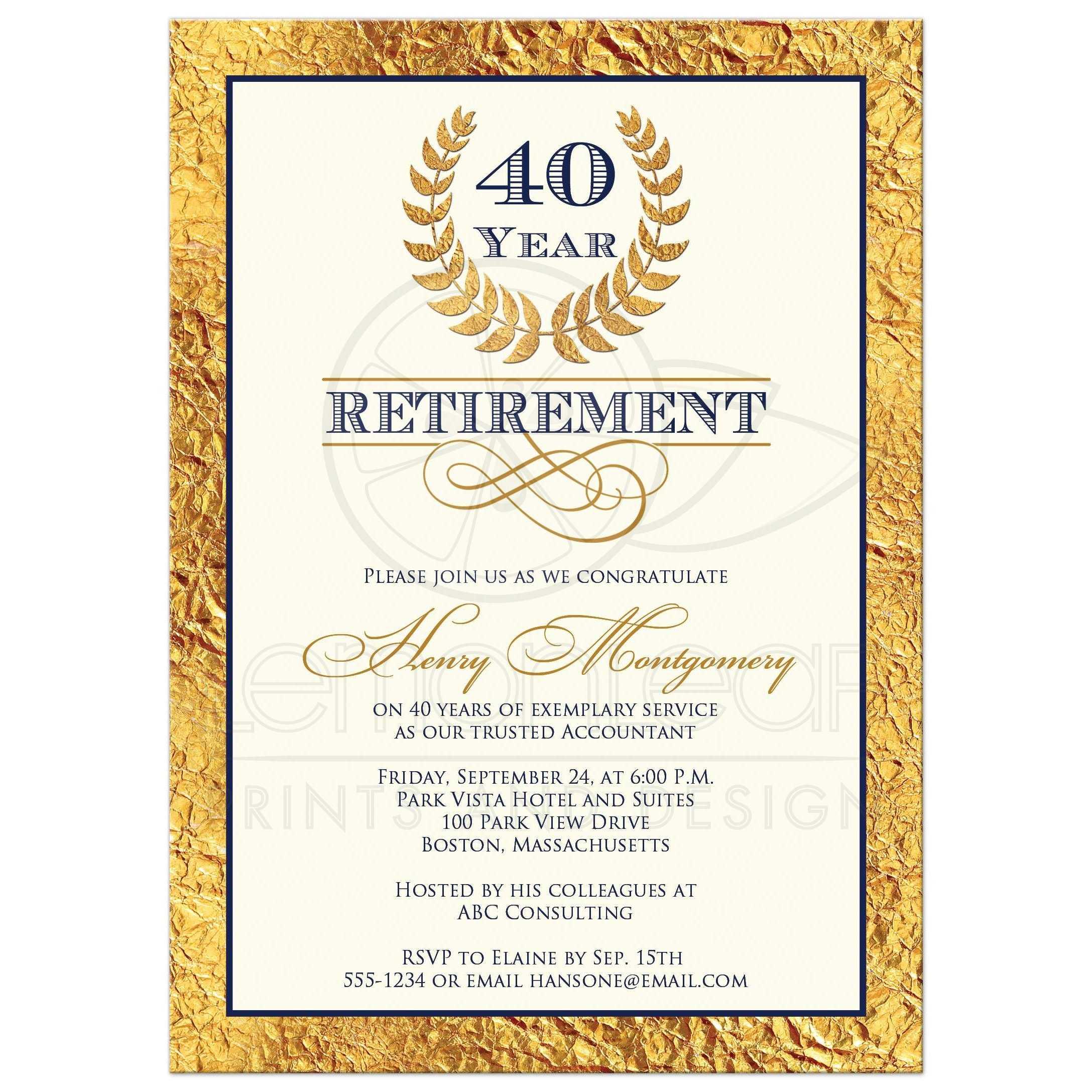 40 Year Retirement Party Invitation Laurel Wreath Faux Gold Foil Navy Blue