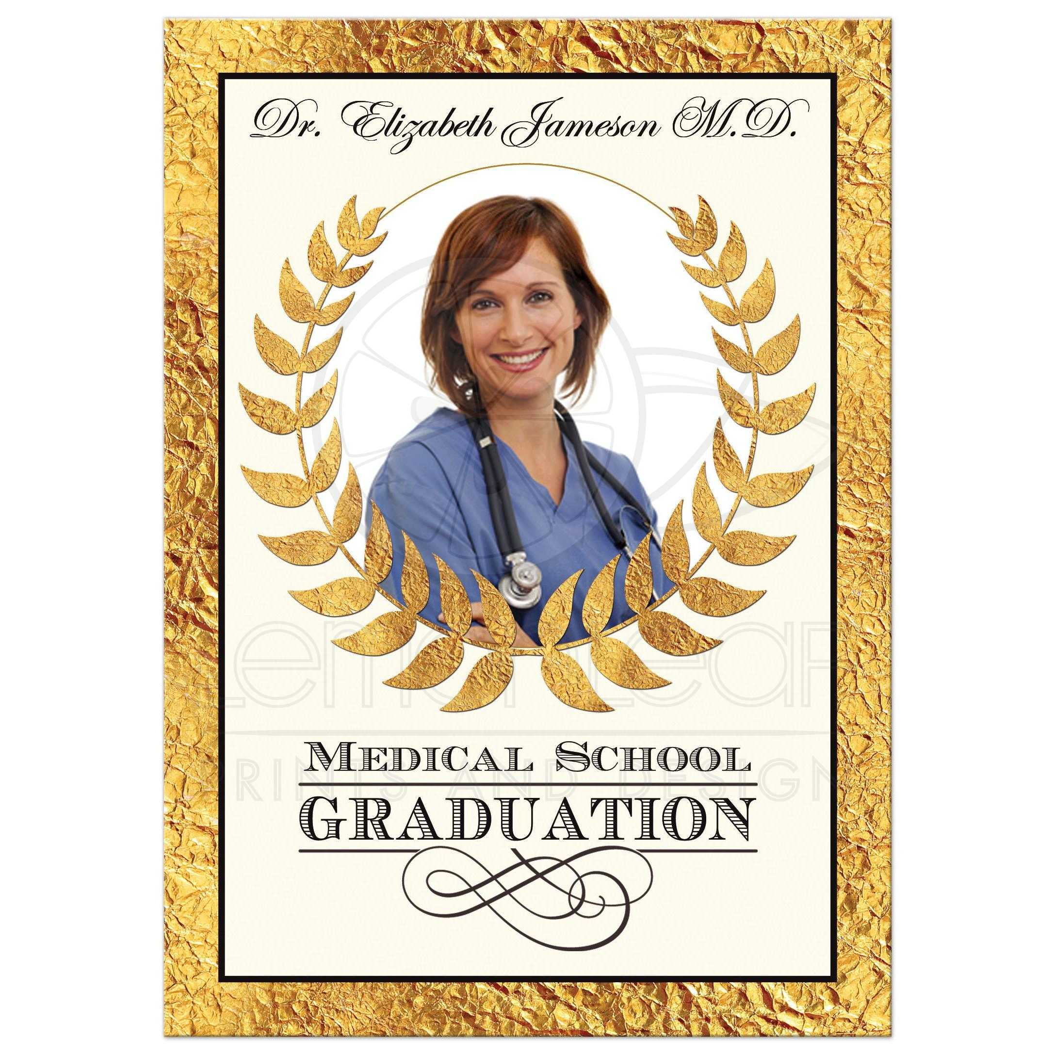 This Medical School Graduation Invitation Features A Green Background With Gold Bottom Border That Looks Like Heart Beat Pattern White