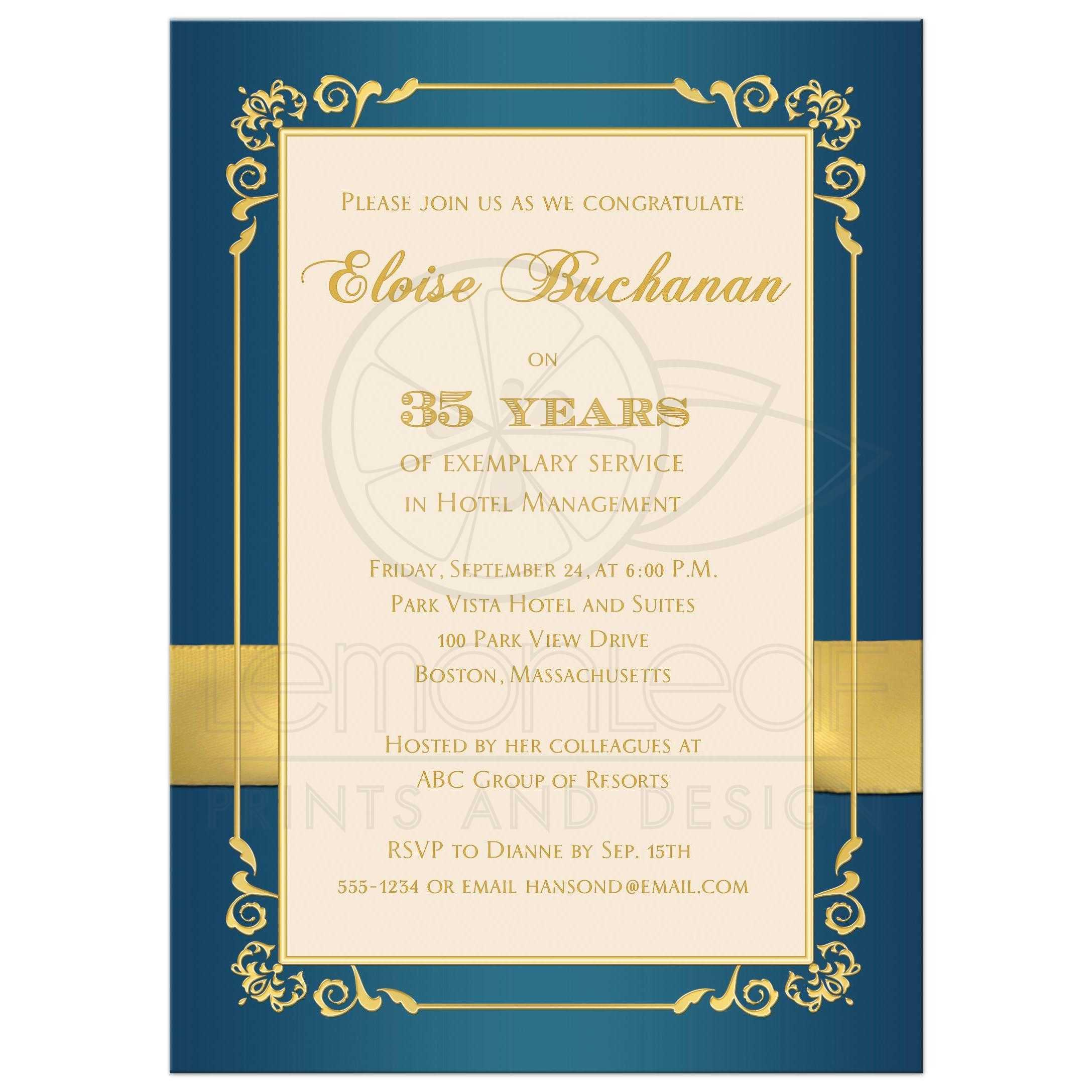 35 year retirement party invite photo teal ivory gold floral