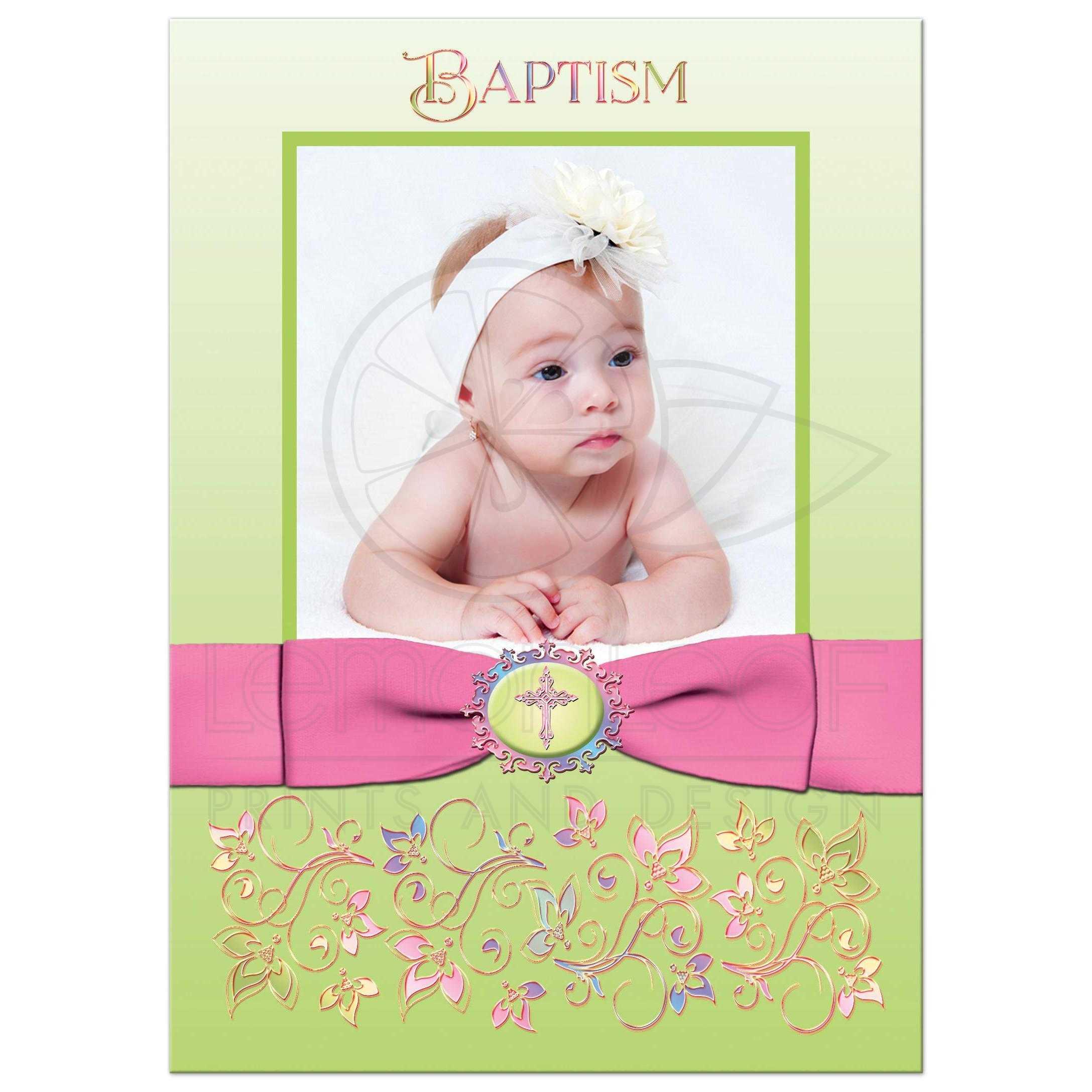 baptism or christening invitation 2 photo pink green purple