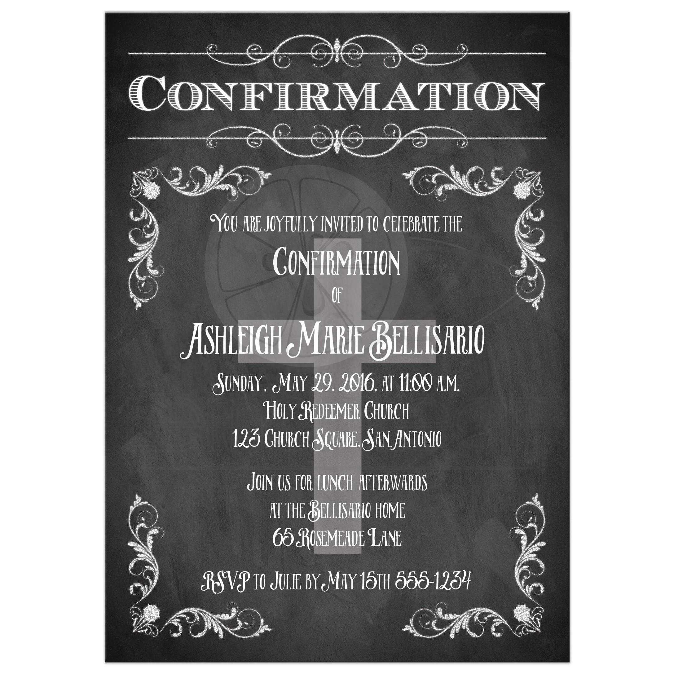 Confirmation Invitation Chalkboard Flourishes Cross