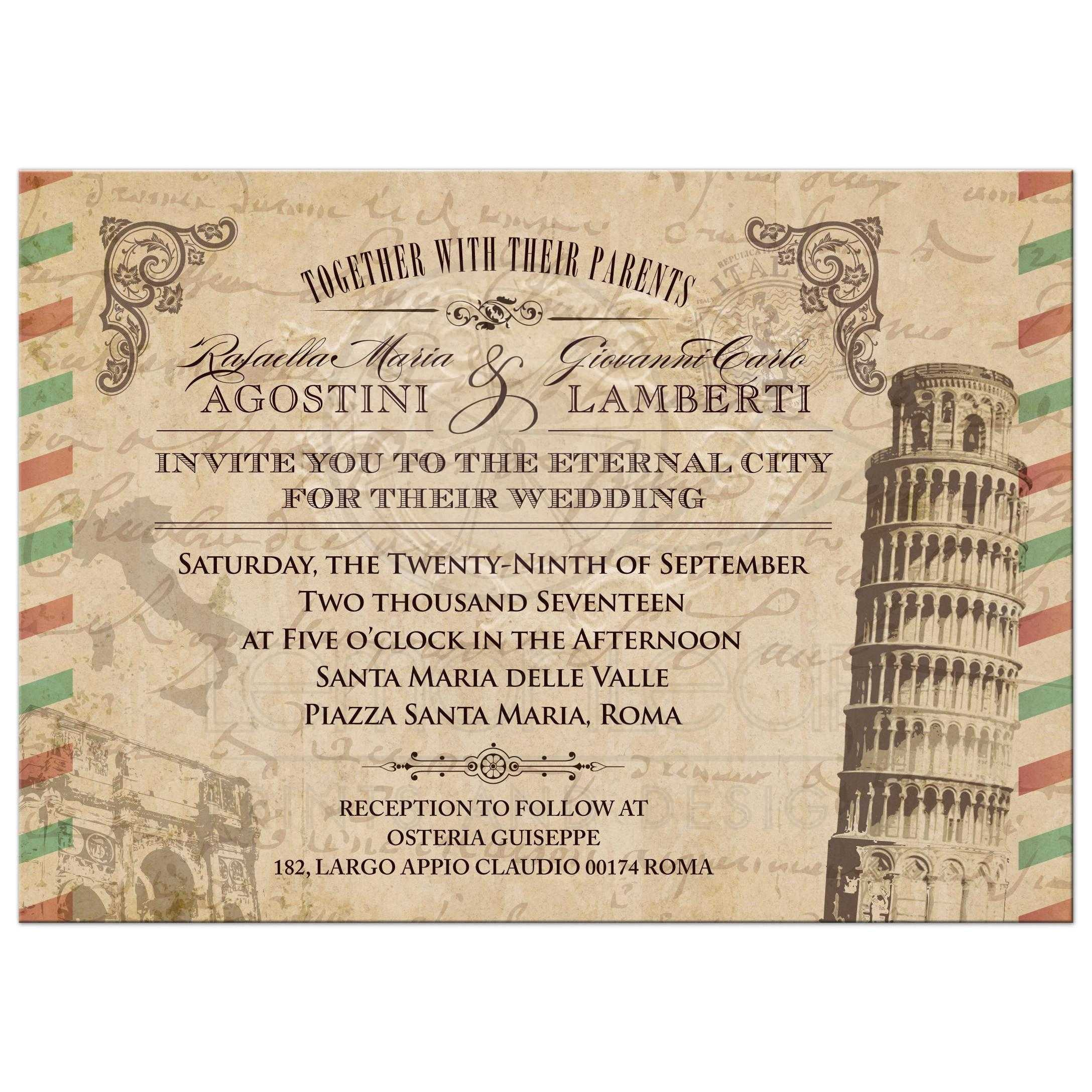 Wedding Invitation Vintage Italian Airmail Parchment Look
