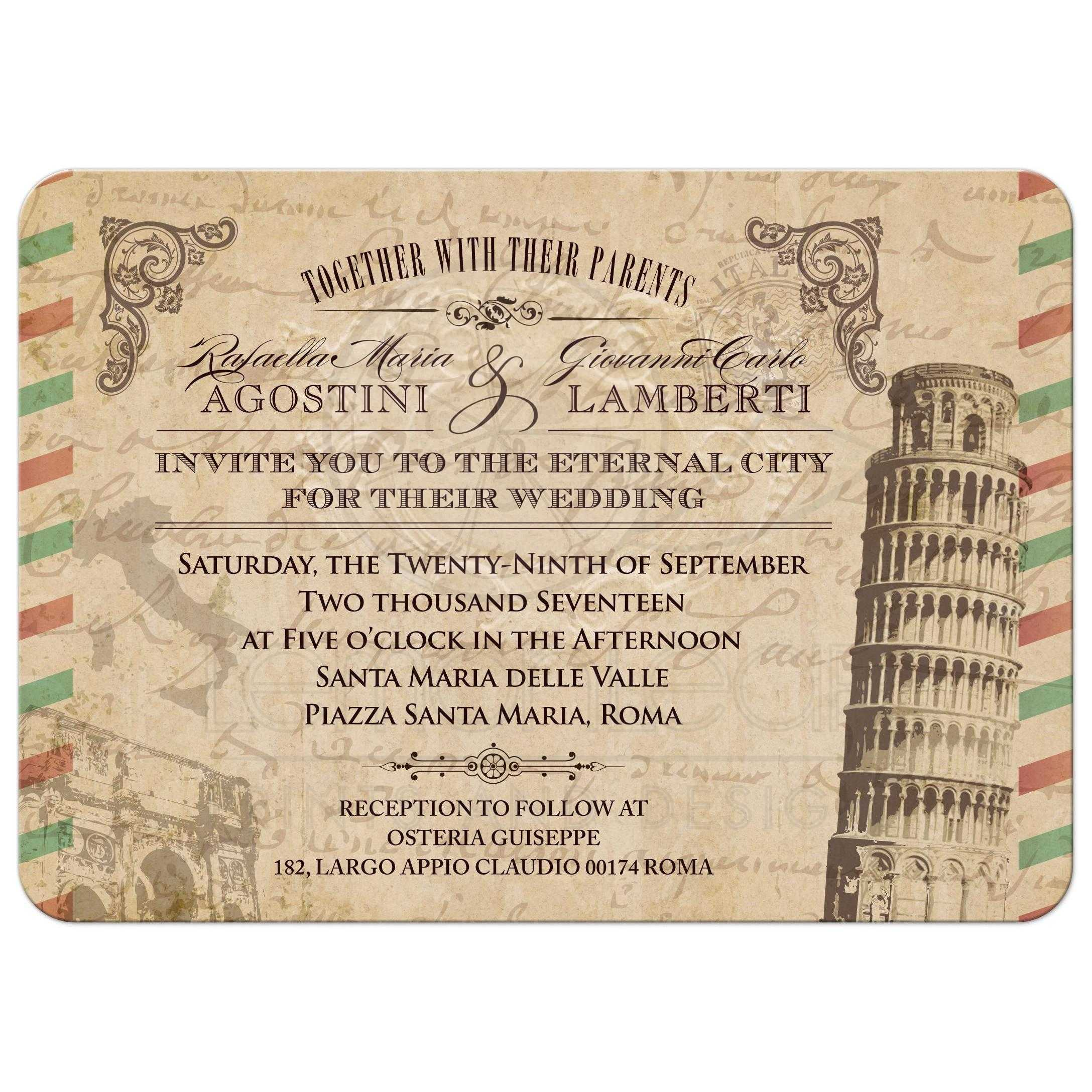 Airmail Wedding Invitations: Vintage Italian Airmail Parchment Look